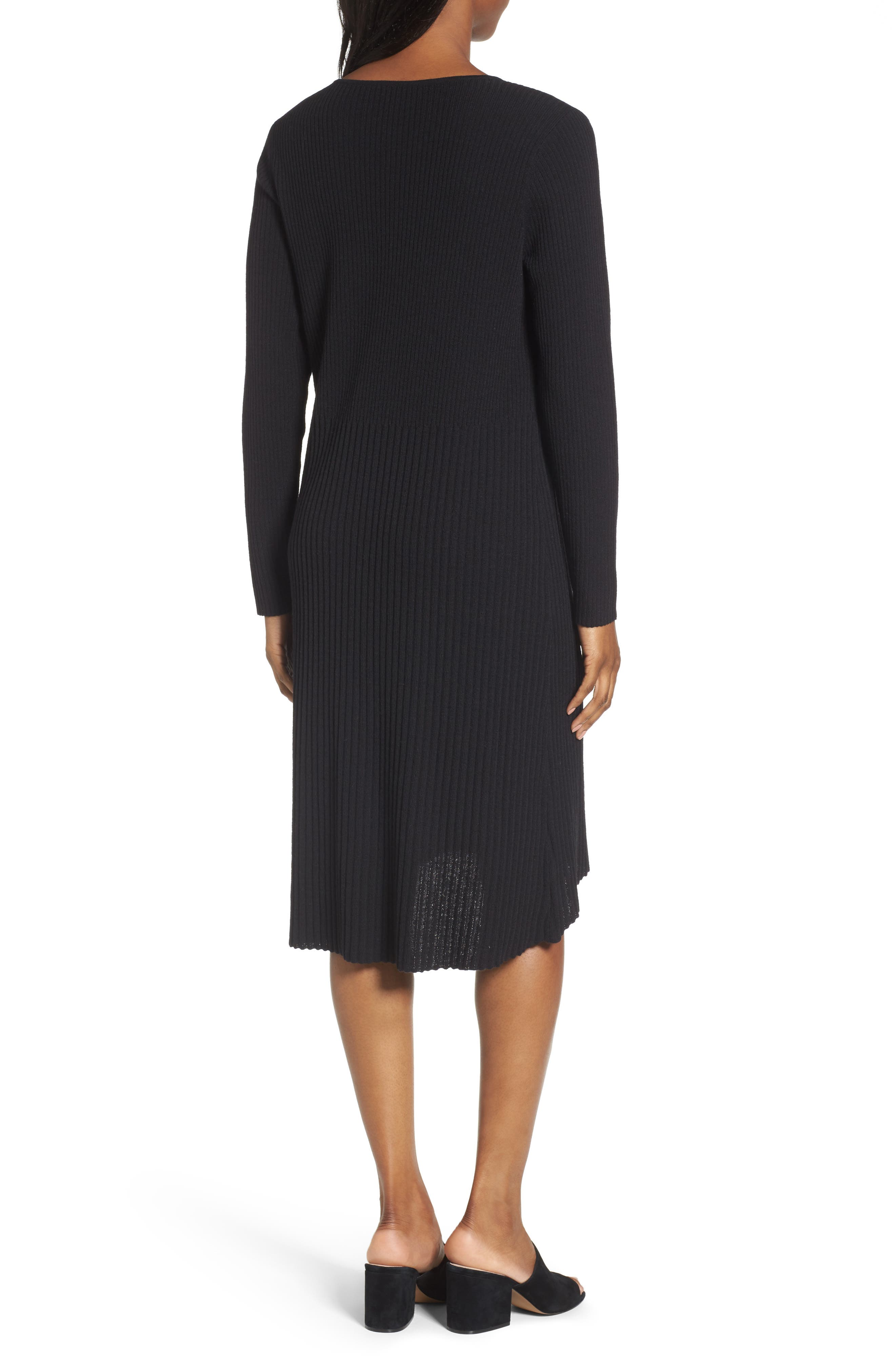 Ribbed Wool Sweater Dress,                             Alternate thumbnail 2, color,                             001