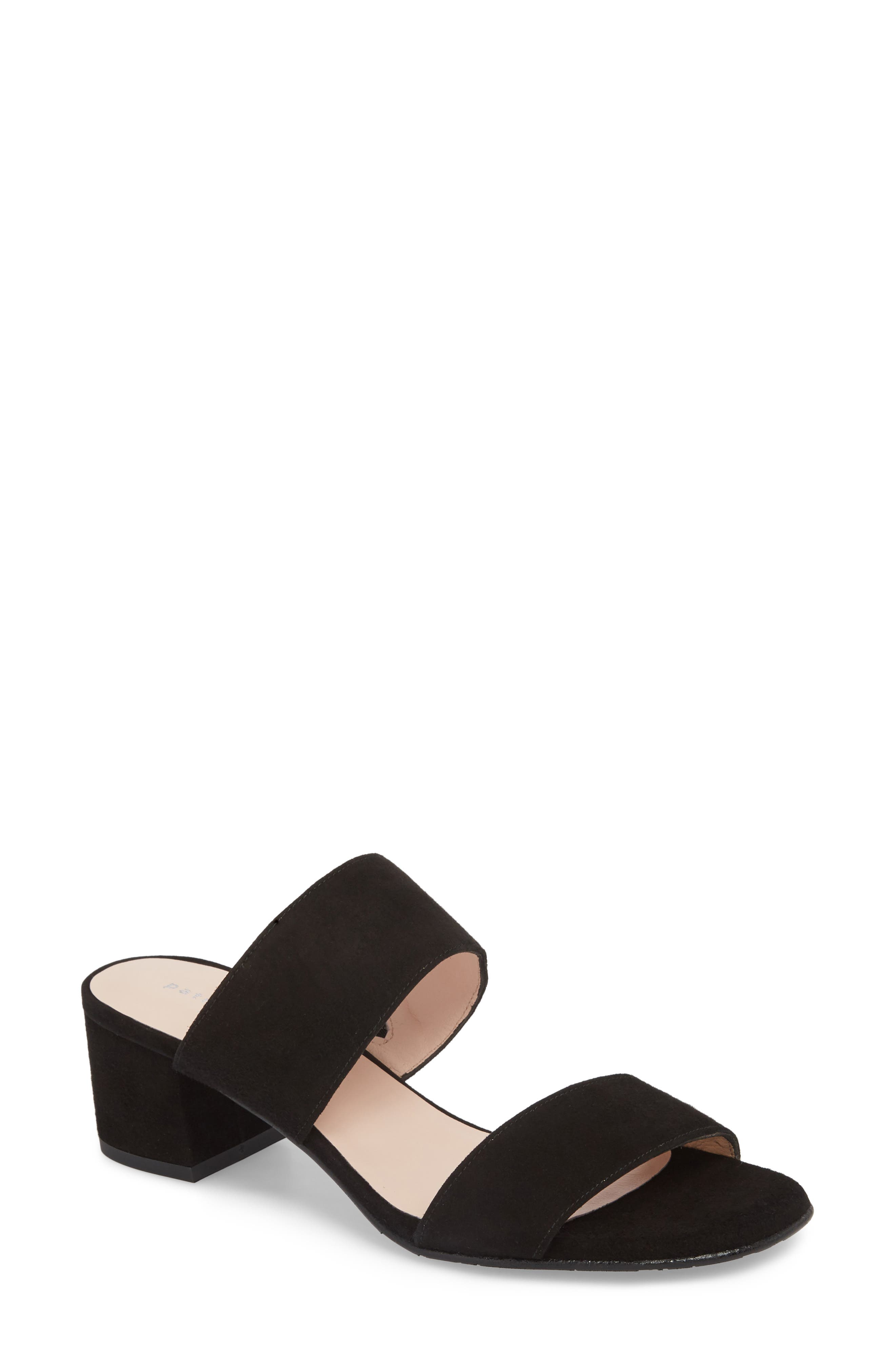 Lola Slide Sandal,                             Main thumbnail 1, color,                             BLACK SUEDE