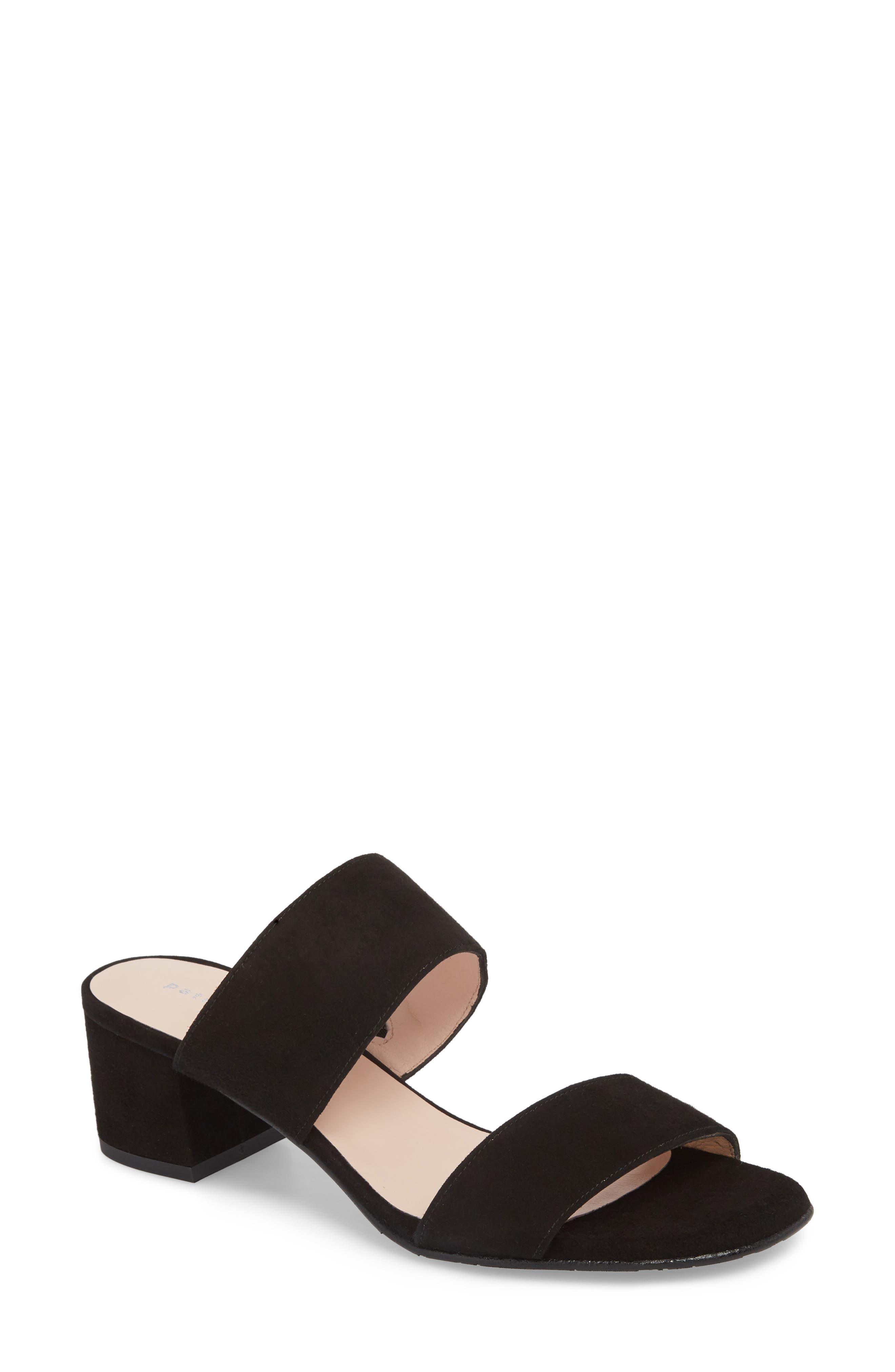 Lola Slide Sandal,                         Main,                         color, BLACK SUEDE