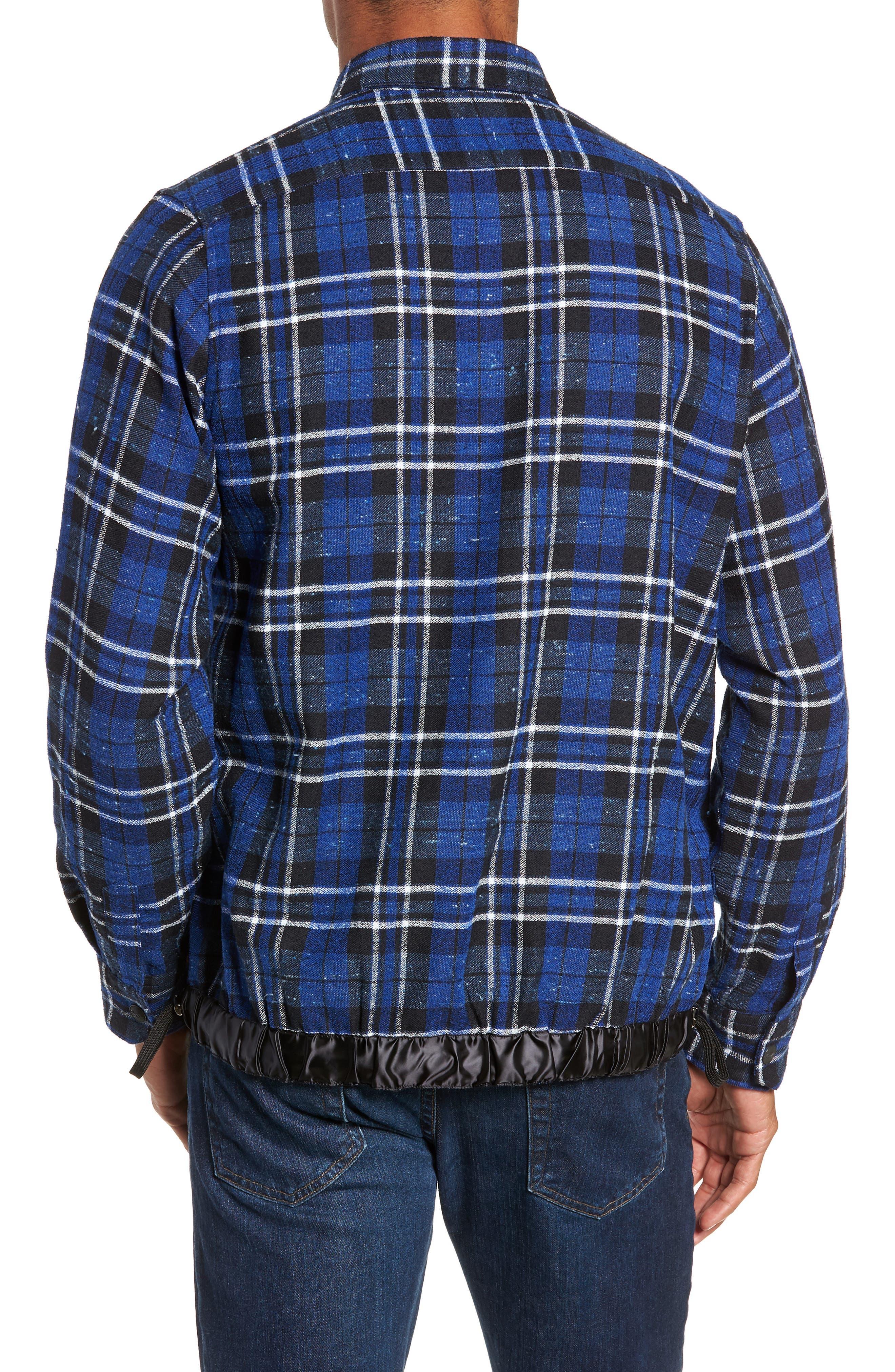 Slim Fit Tartan Shirt Jacket,                             Alternate thumbnail 3, color,                             NAVY