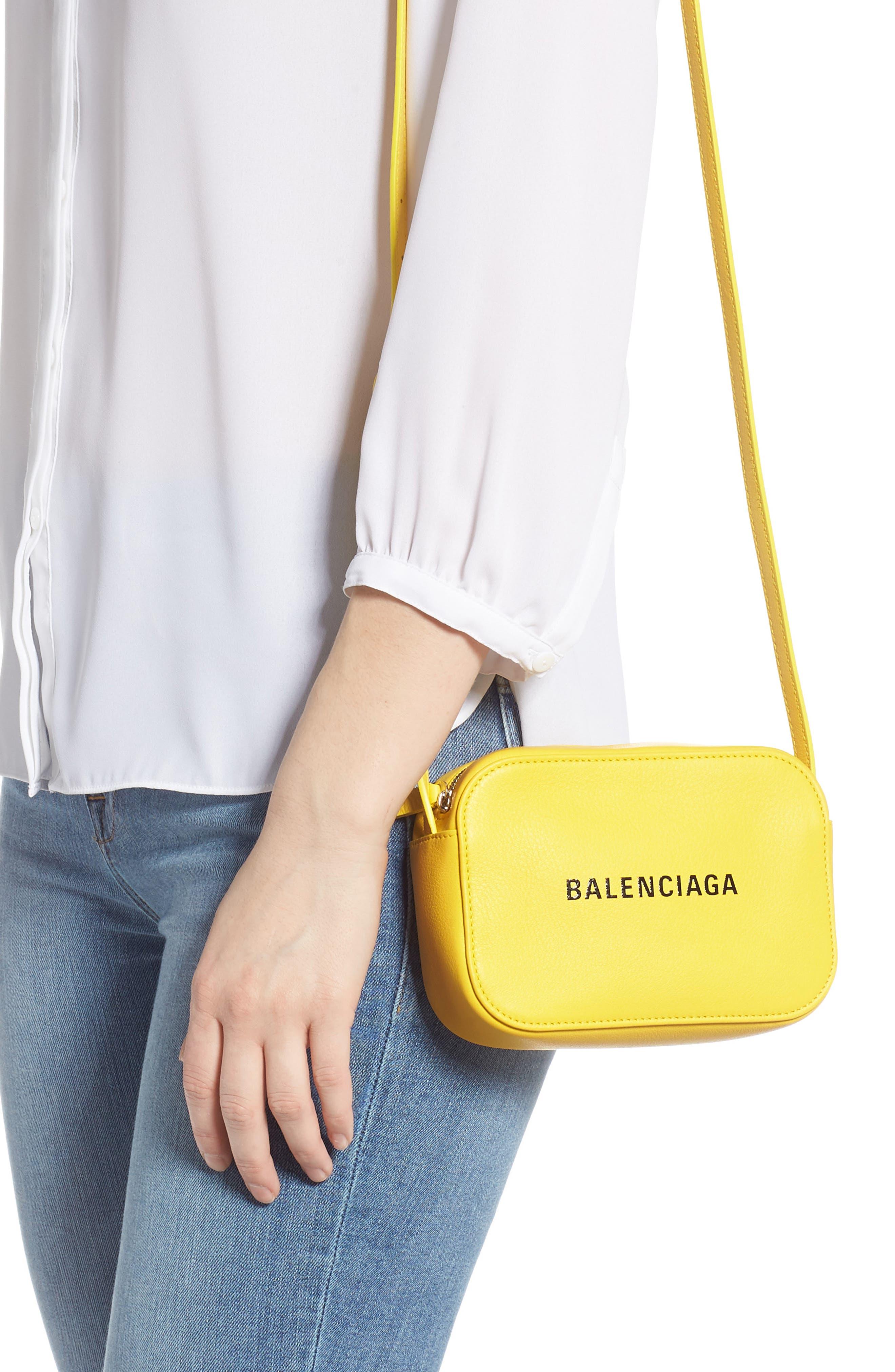 BALENCIAGA,                             Extra Small Everyday Calfskin Camera Bag,                             Alternate thumbnail 2, color,                             JAUNE SOLEIL/ NOIR
