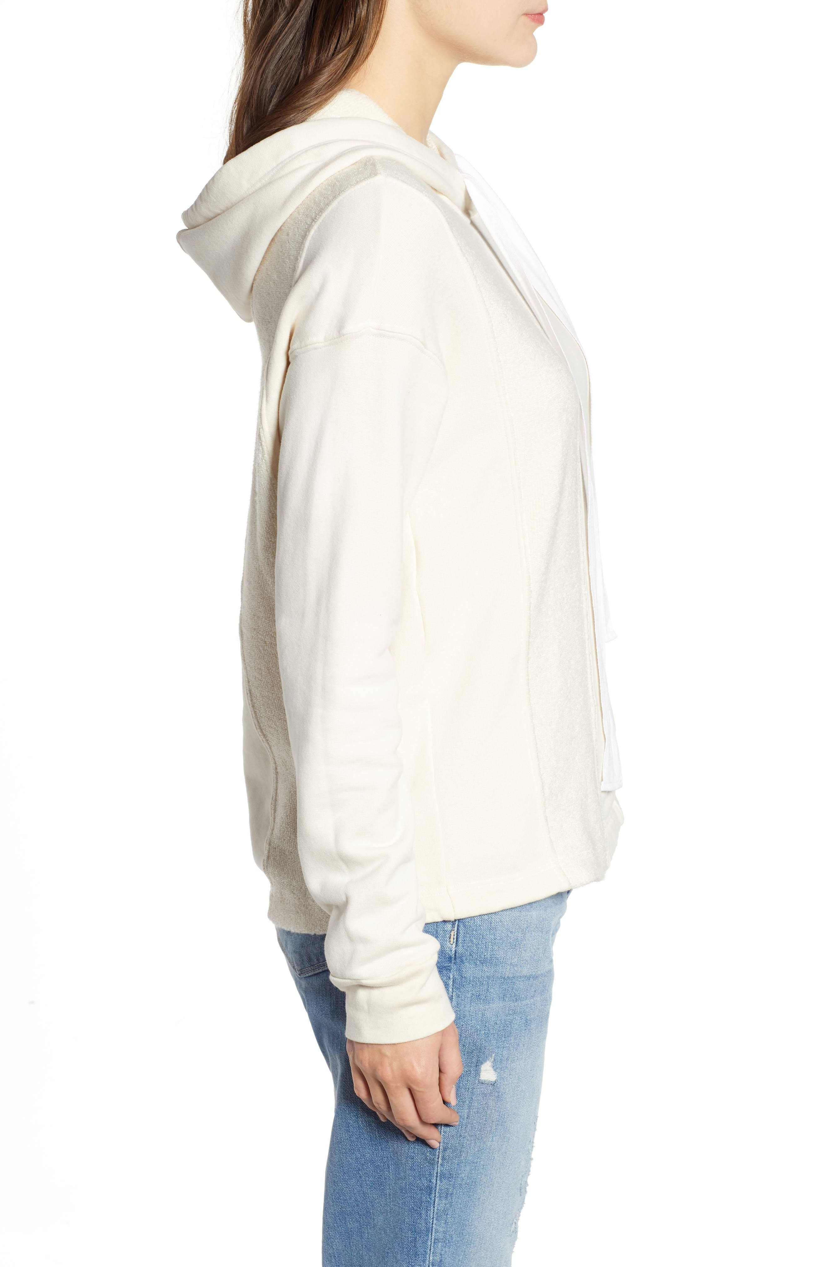 French Terry Hoodie,                             Alternate thumbnail 3, color,                             CREAM