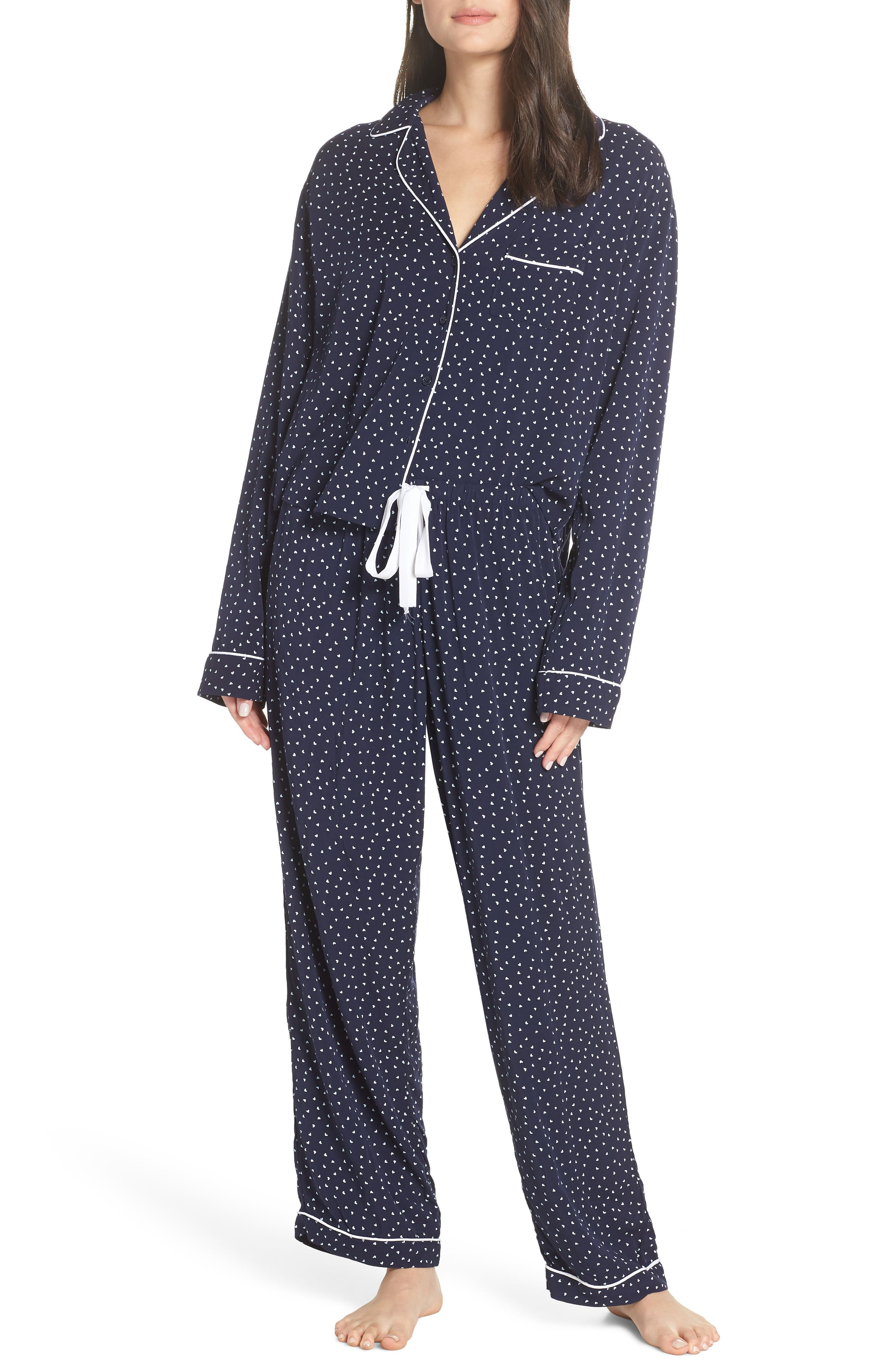 Heart Print Pajamas,                             Main thumbnail 1, color,                             NAVY MINI HEARTS