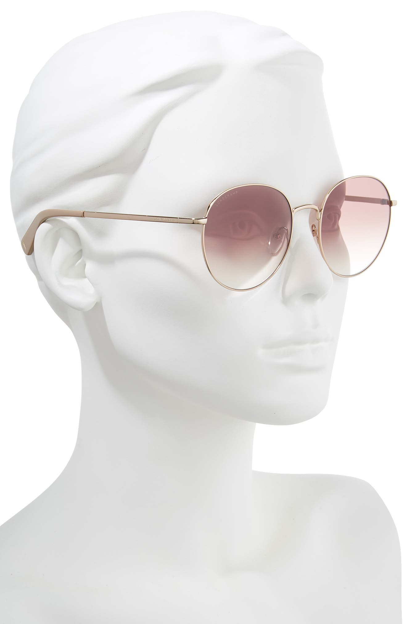 56mm Round Sunglasses,                             Alternate thumbnail 2, color,                             ROSE GOLD/ NUDE