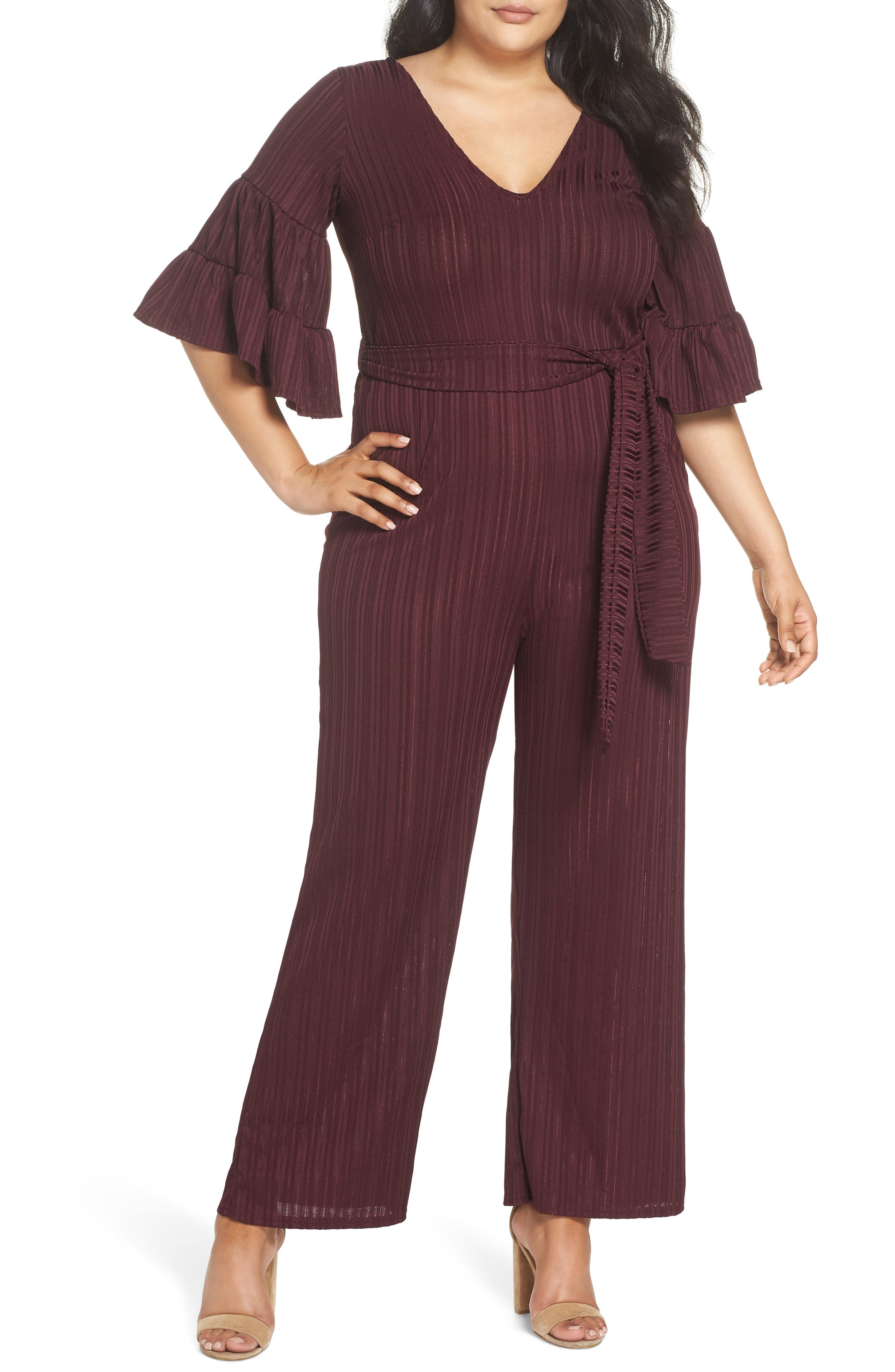 Ruffle Sleeve Jumpsuit,                             Main thumbnail 1, color,                             500