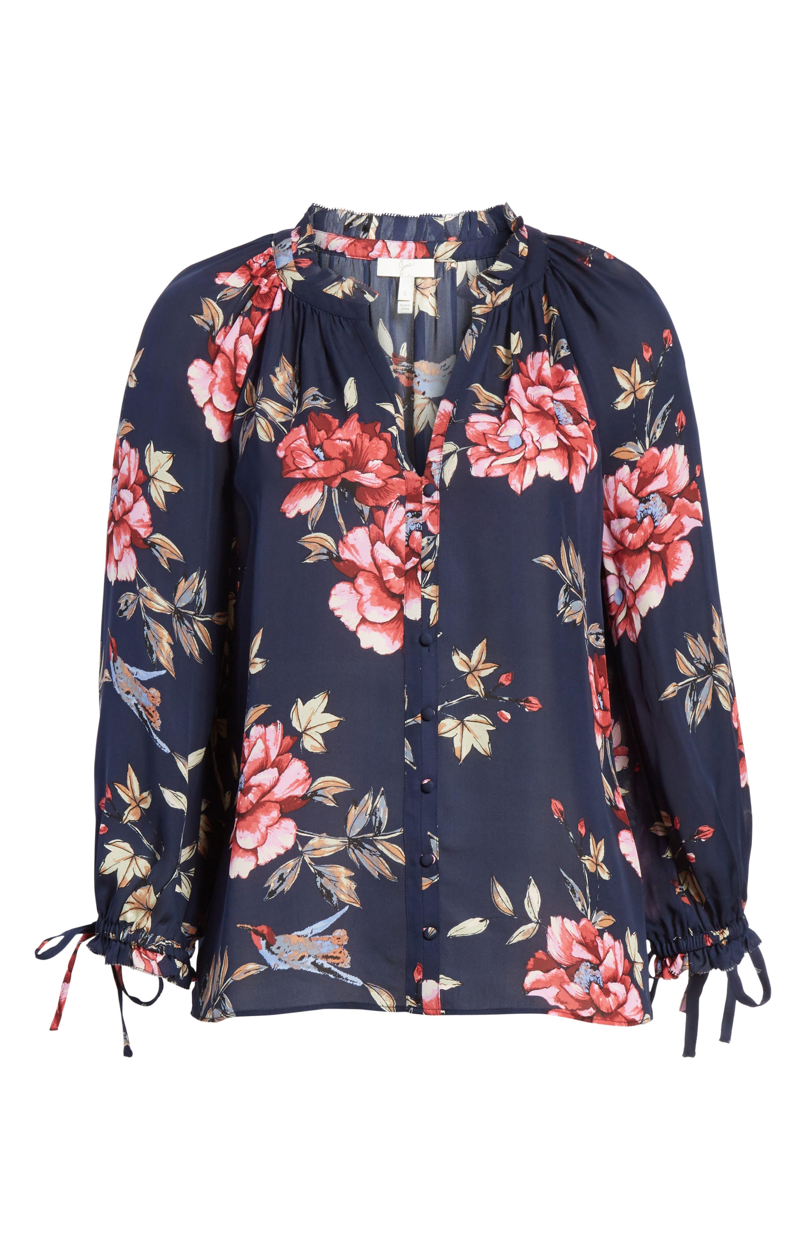 Corsen Floral Silk Blouse,                             Alternate thumbnail 6, color,                             410