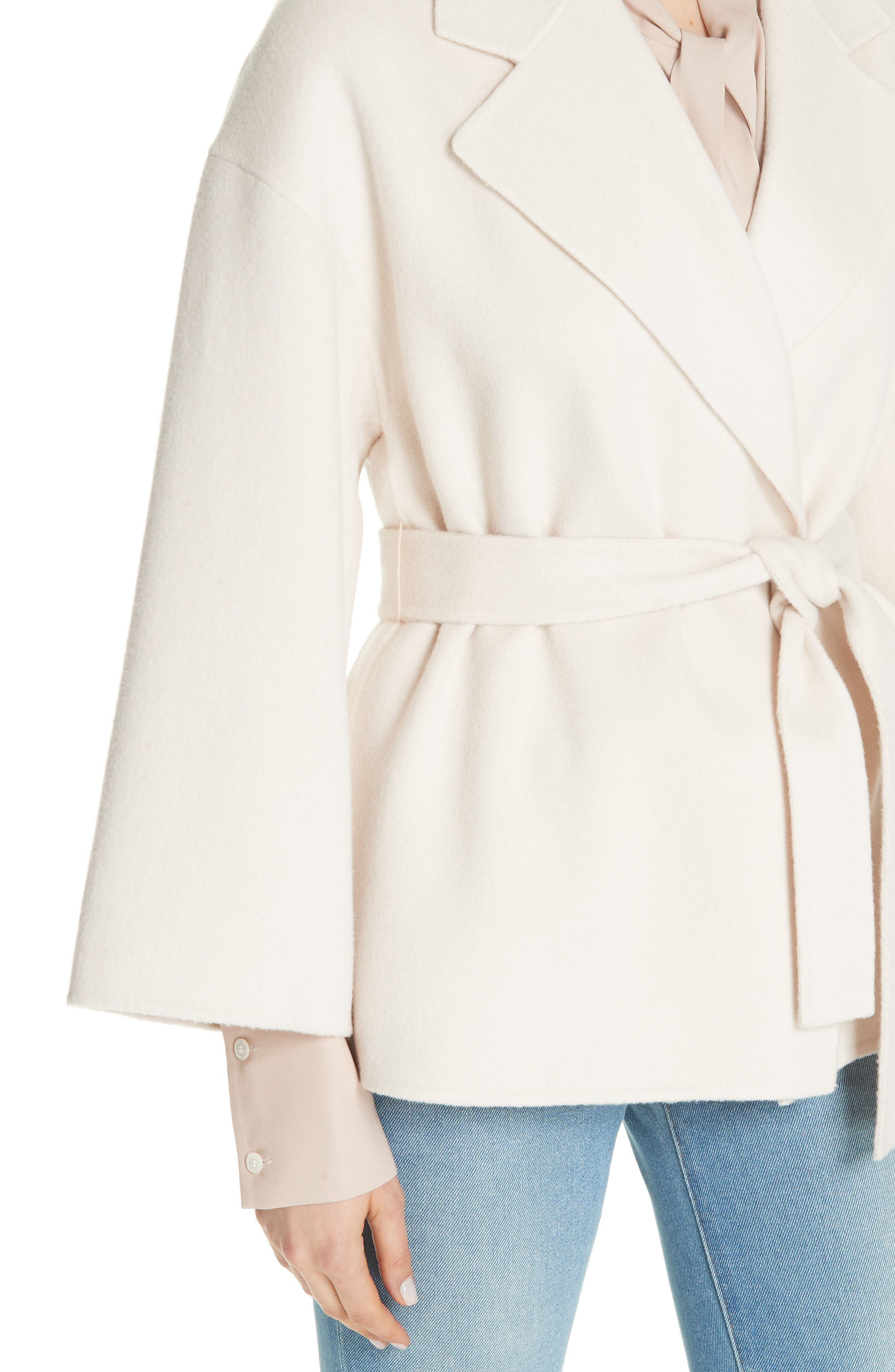 Wool & Cashmere Belted Jacket,                             Alternate thumbnail 4, color,                             BUTTERCREAM