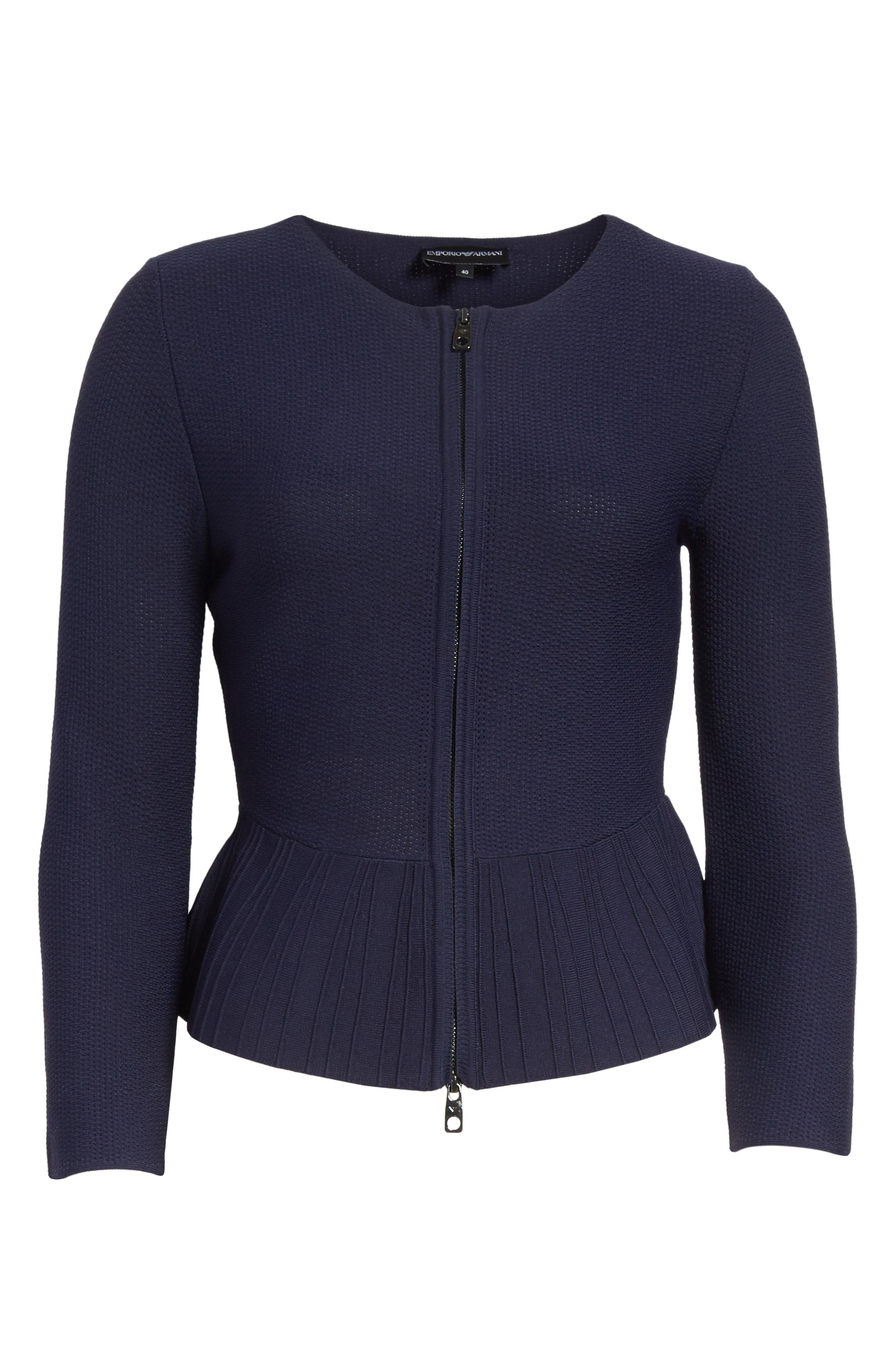 Zip Front Peplum Knit Jacket,                             Alternate thumbnail 5, color,