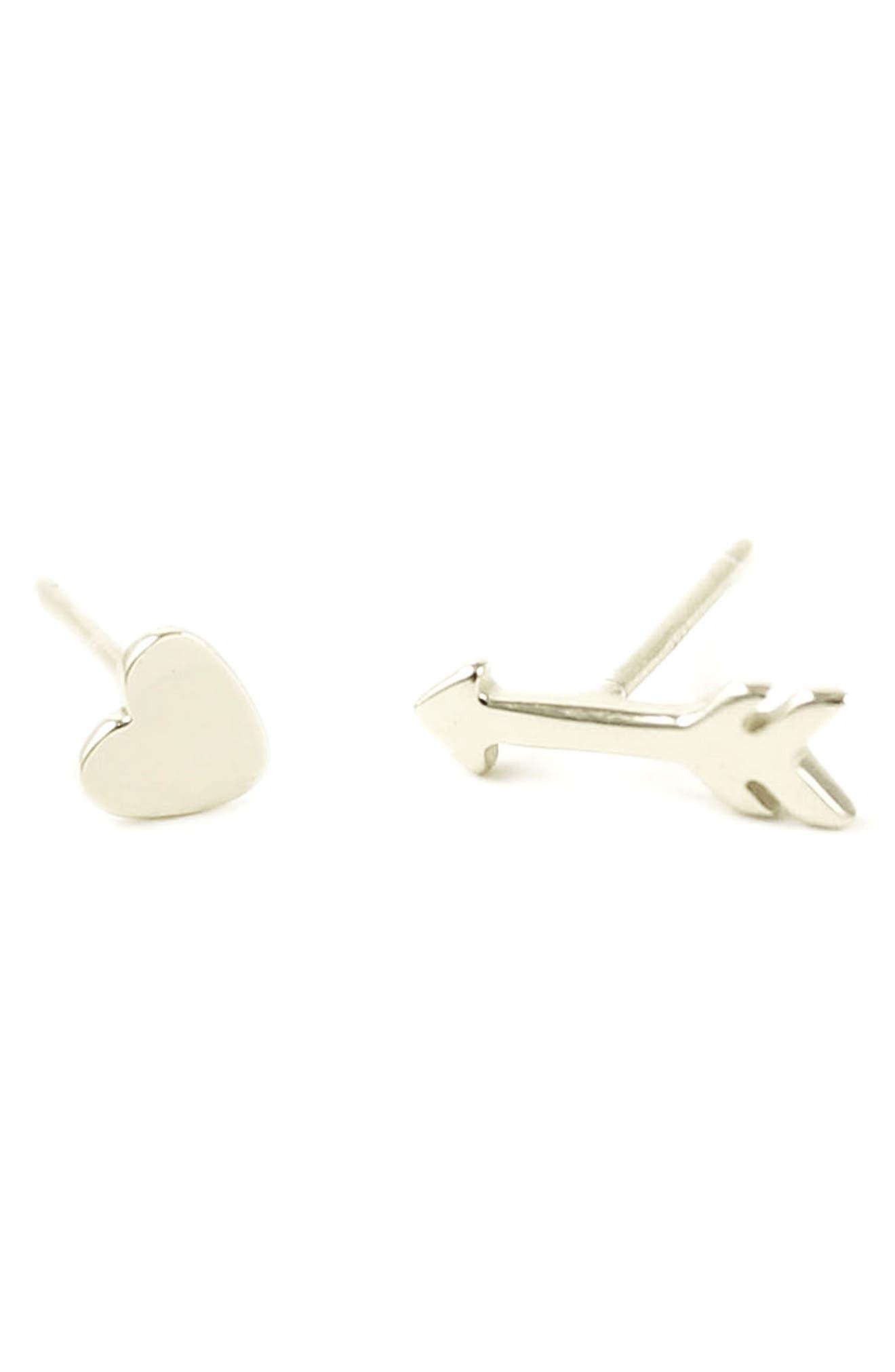 Heart & Arrow Stud Earrings,                         Main,                         color, SILVER