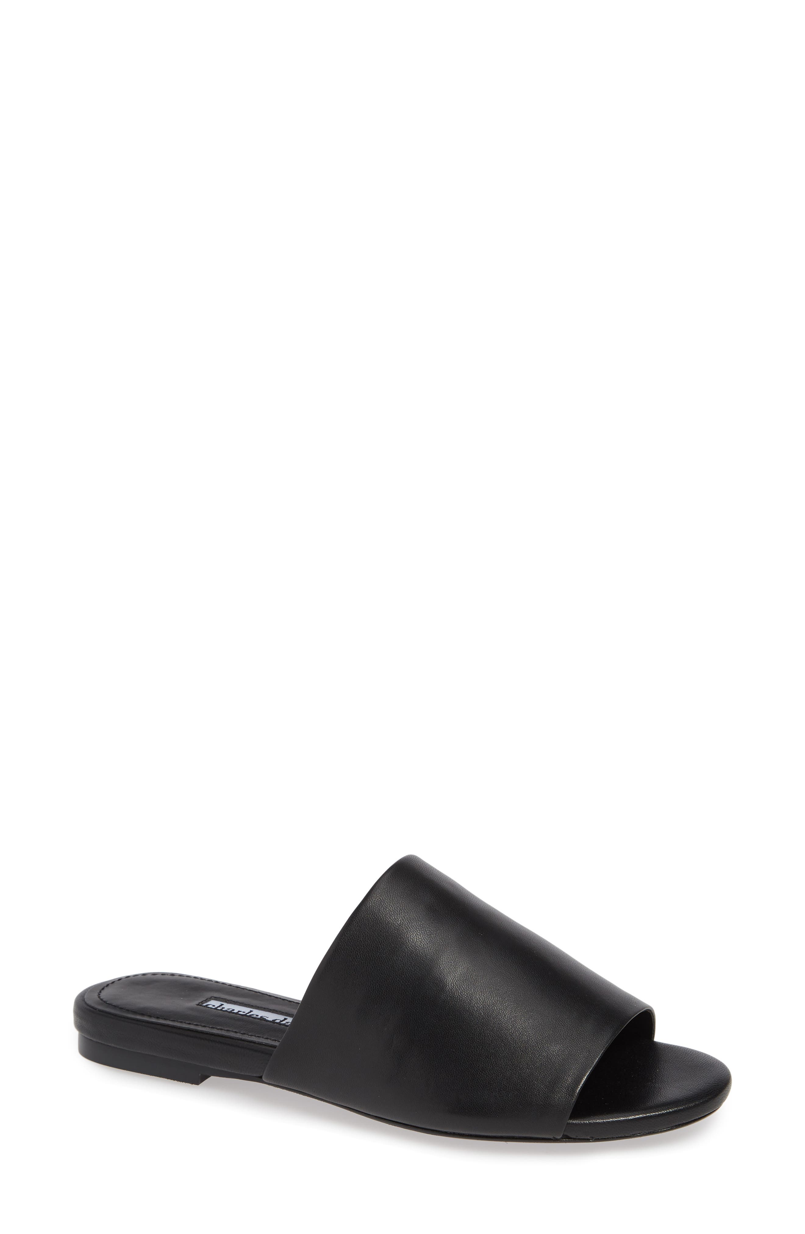 CHARLES DAVID Women'S Leather Slide Sandals in Black