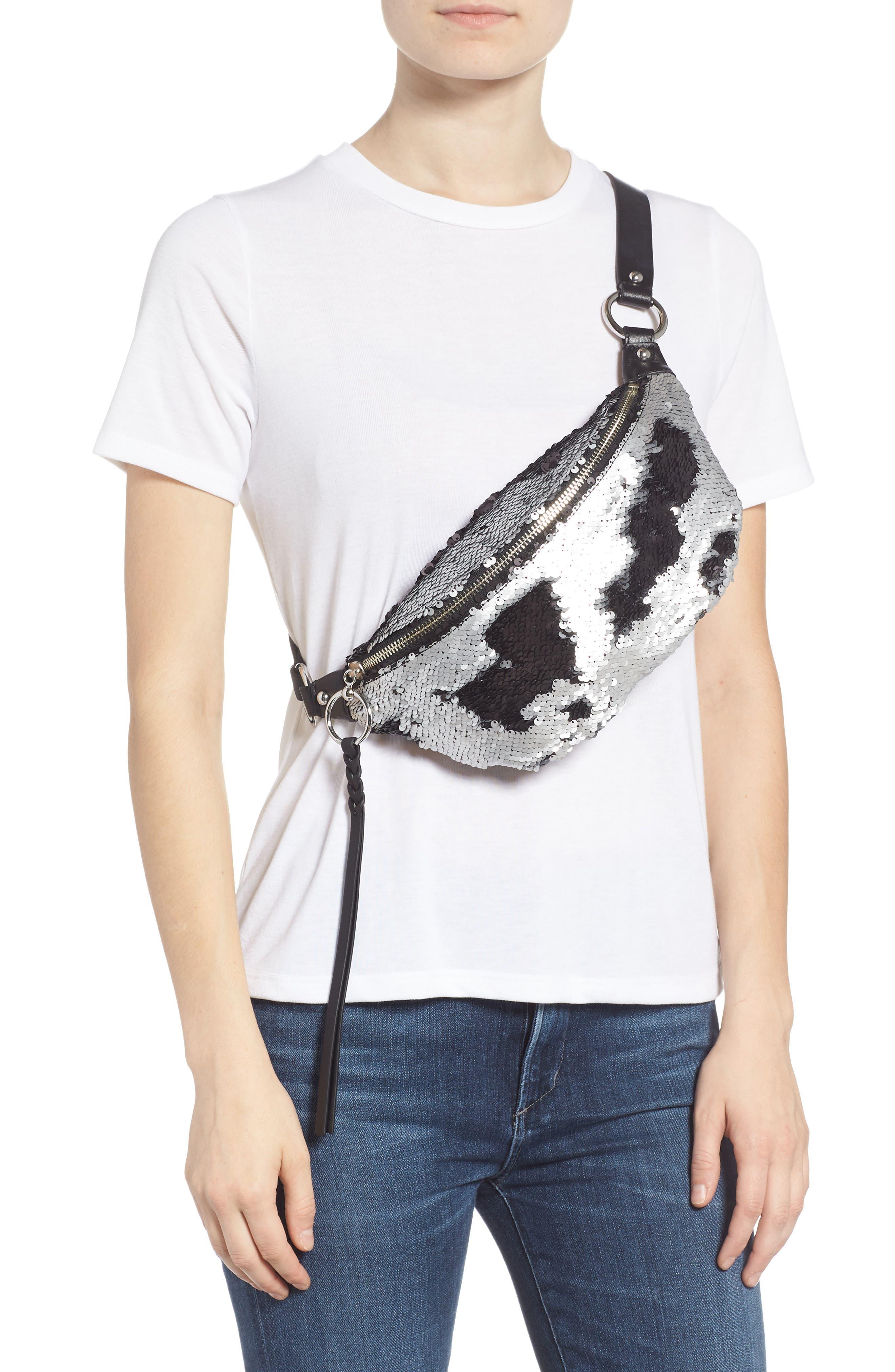 Sequin Belt Bag,                             Alternate thumbnail 3, color,                             SILVER