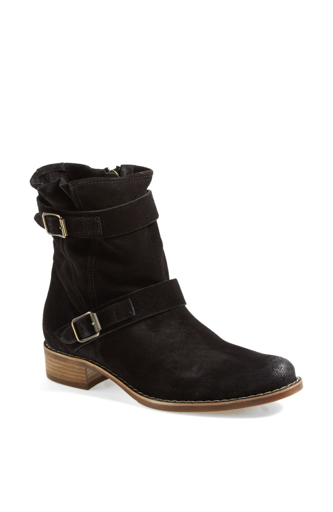 'Ally' Belted Suede Moto Boot,                             Main thumbnail 1, color,                             002