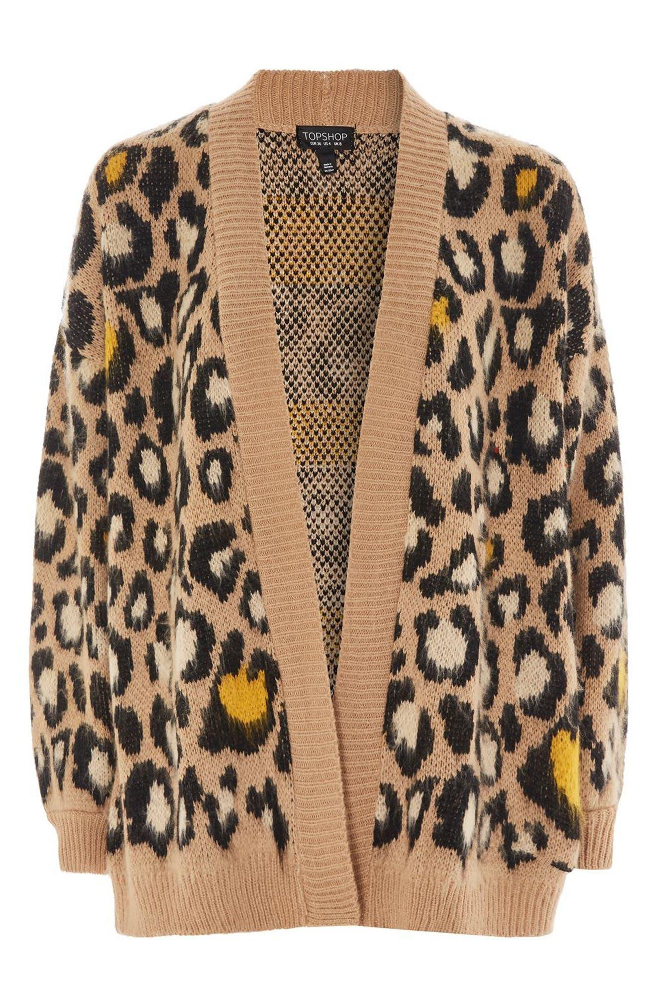 Leopard Print Cardigan,                             Alternate thumbnail 5, color,