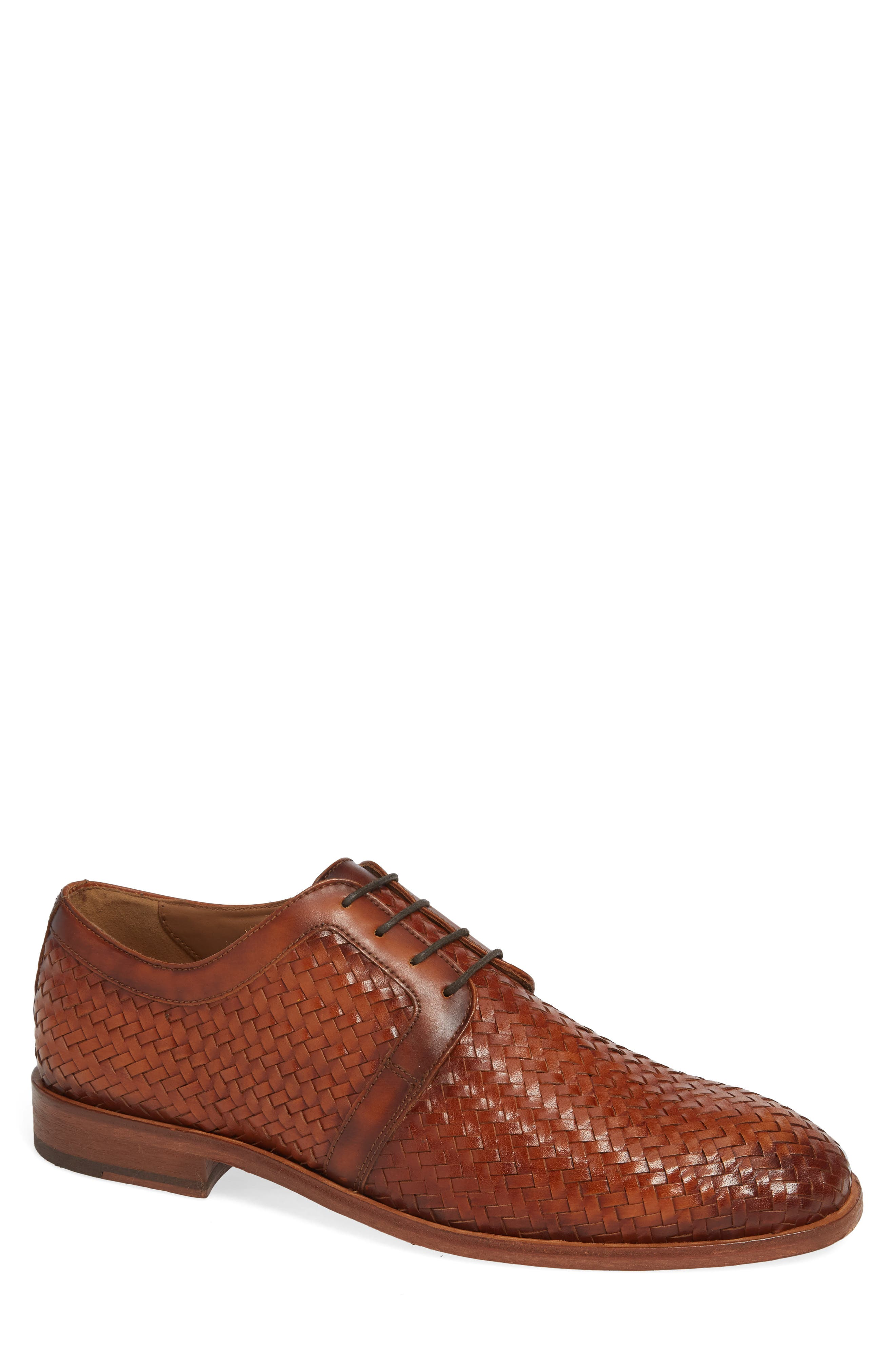 Bolinas True Woven Derby,                             Main thumbnail 1, color,                             COGNAC LEATHER