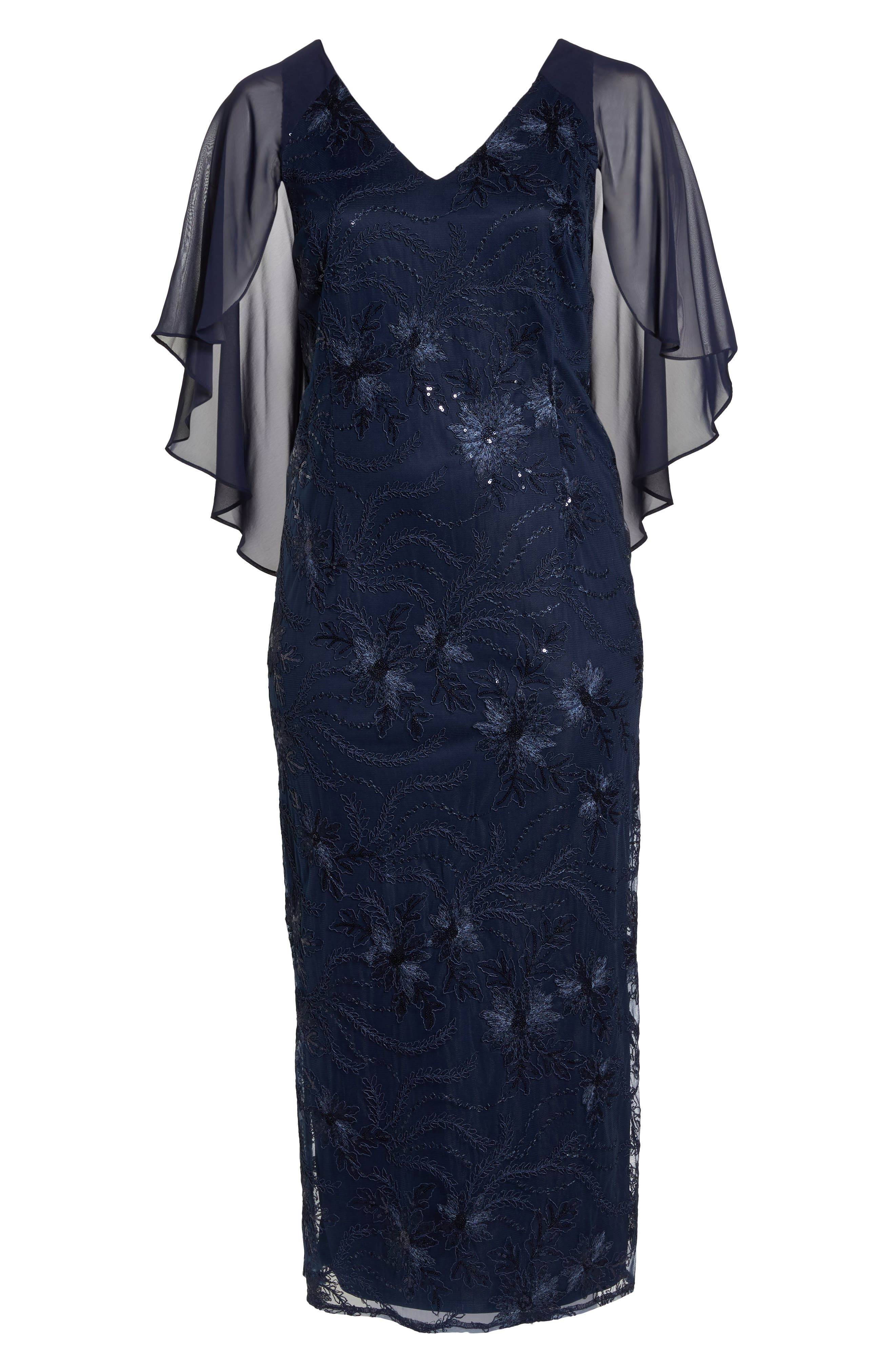 Embellished Capelet Gown,                             Alternate thumbnail 6, color,                             NAVY