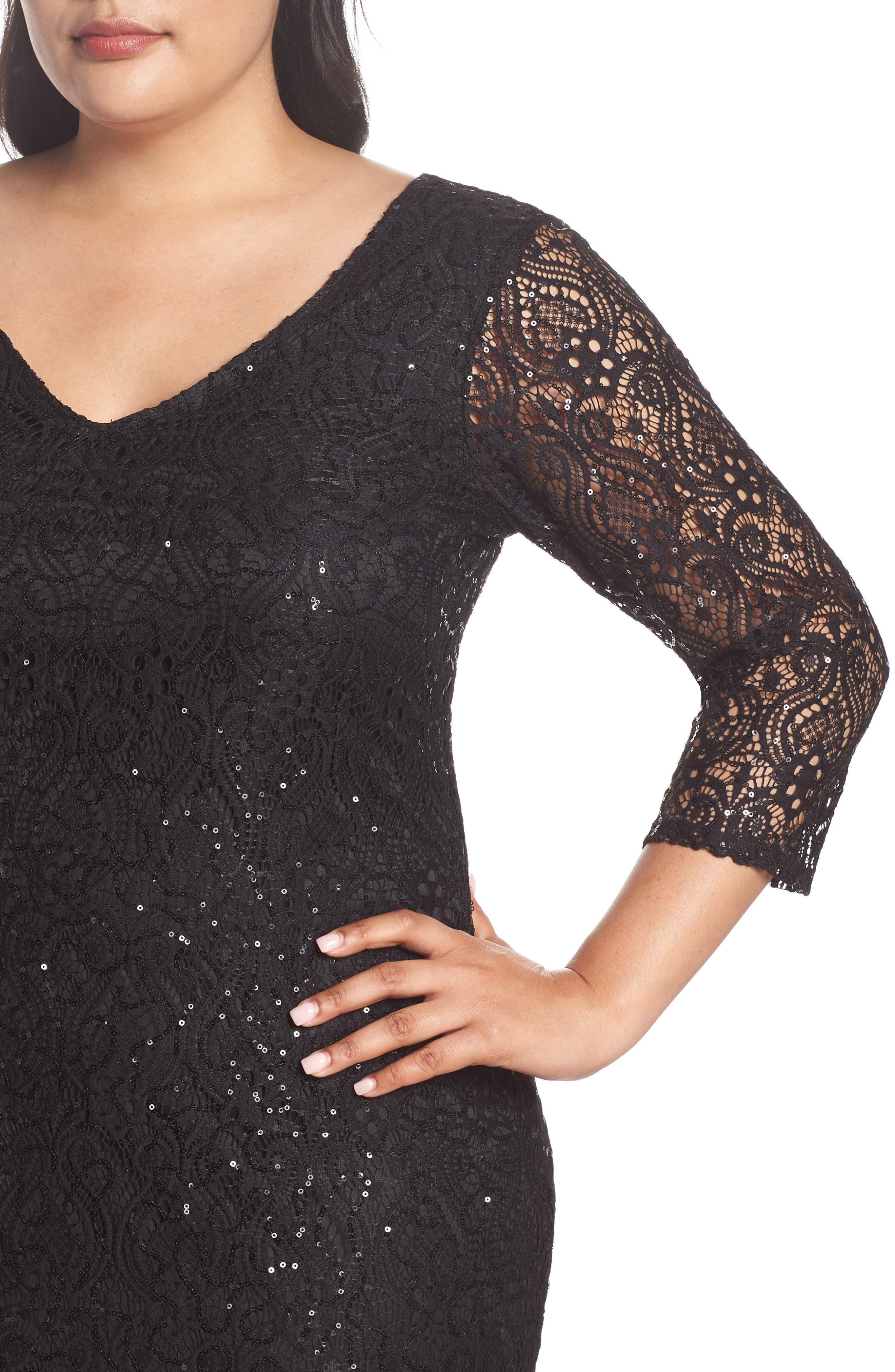 Sequin Lace A-Line Gown,                             Alternate thumbnail 4, color,                             001