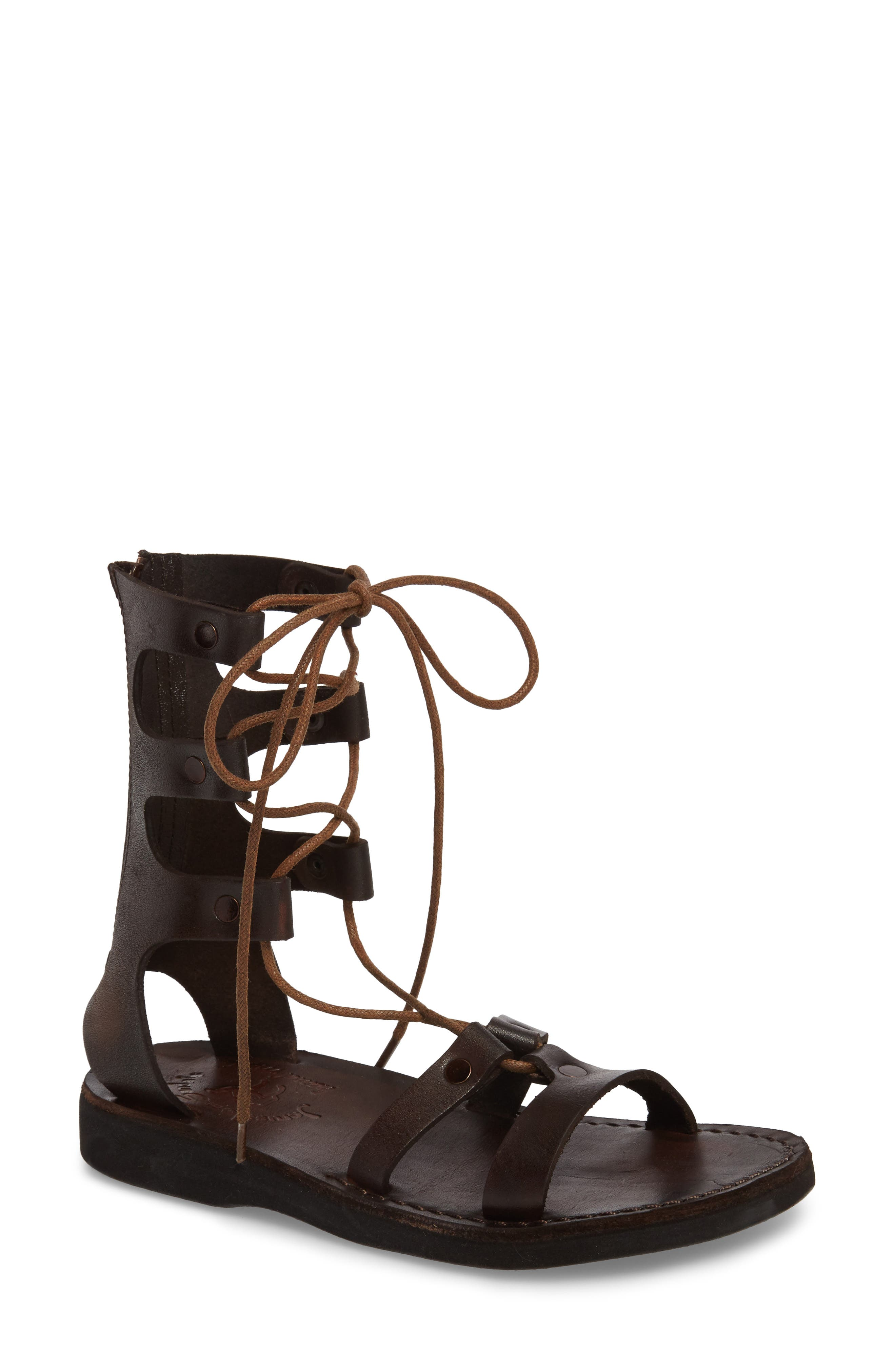 Rebecca Sandal,                             Main thumbnail 1, color,                             BROWN LEATHER