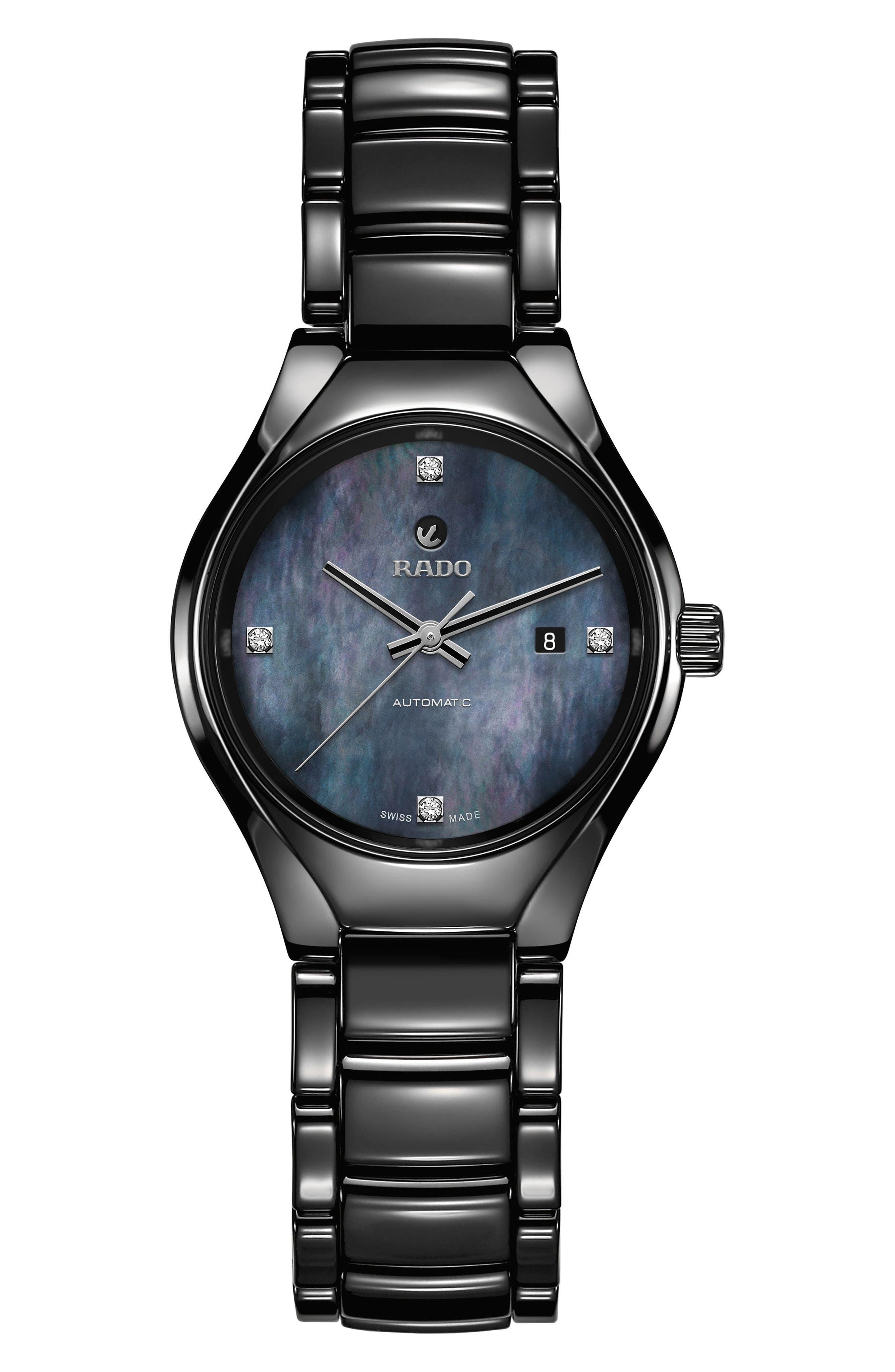True Diamond Ceramic Bracelet Watch, 30mm,                         Main,                         color, TITANIUM/ MOP/ TITANIUM