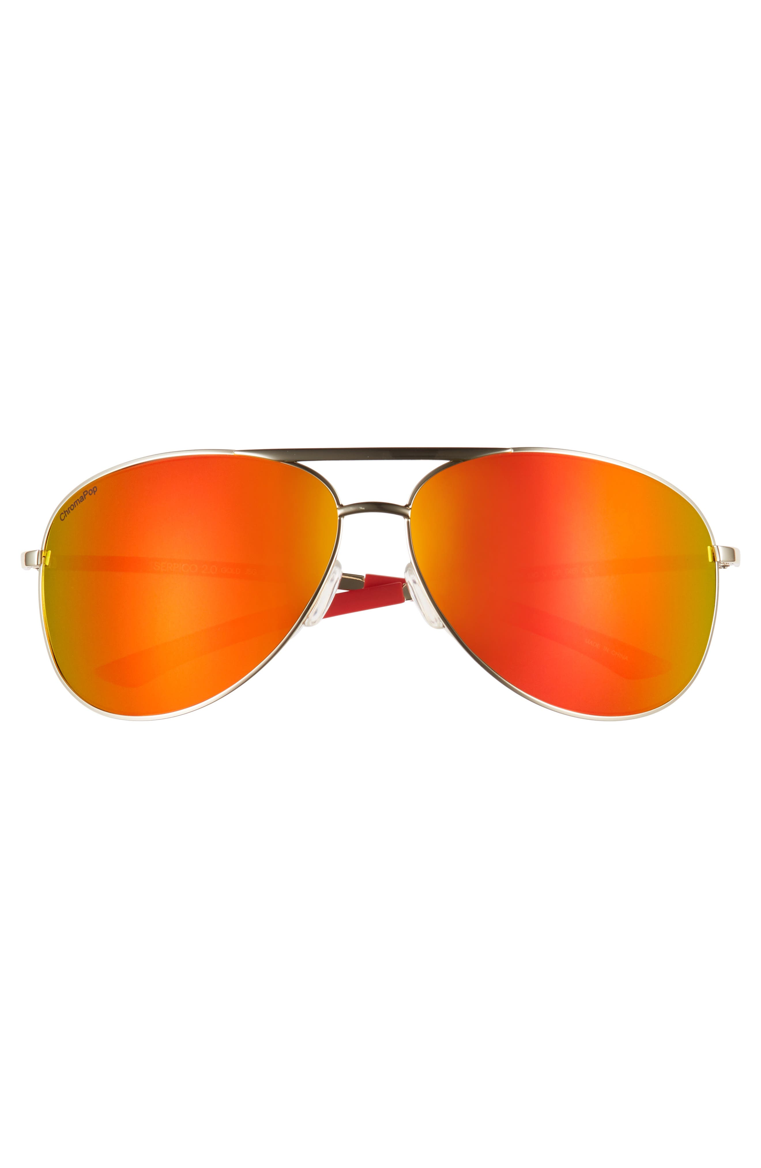 Serpico 2 65mm Mirrored ChromaPop<sup>™</sup> Aviator Sunglasses,                             Alternate thumbnail 2, color,                             GOLD/ RED