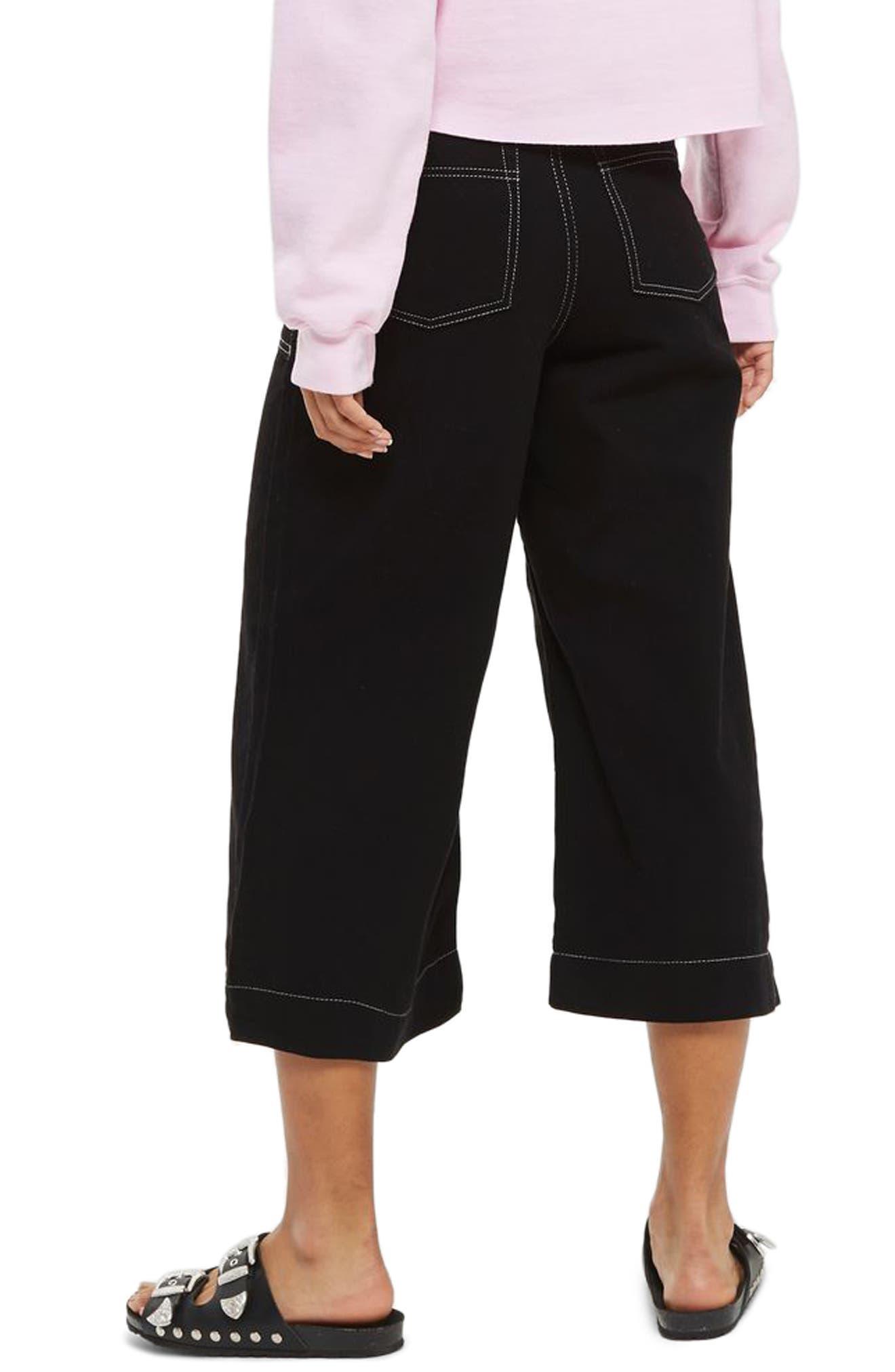Contrast Stitch Wide Leg Crop Trousers,                             Alternate thumbnail 2, color,                             001