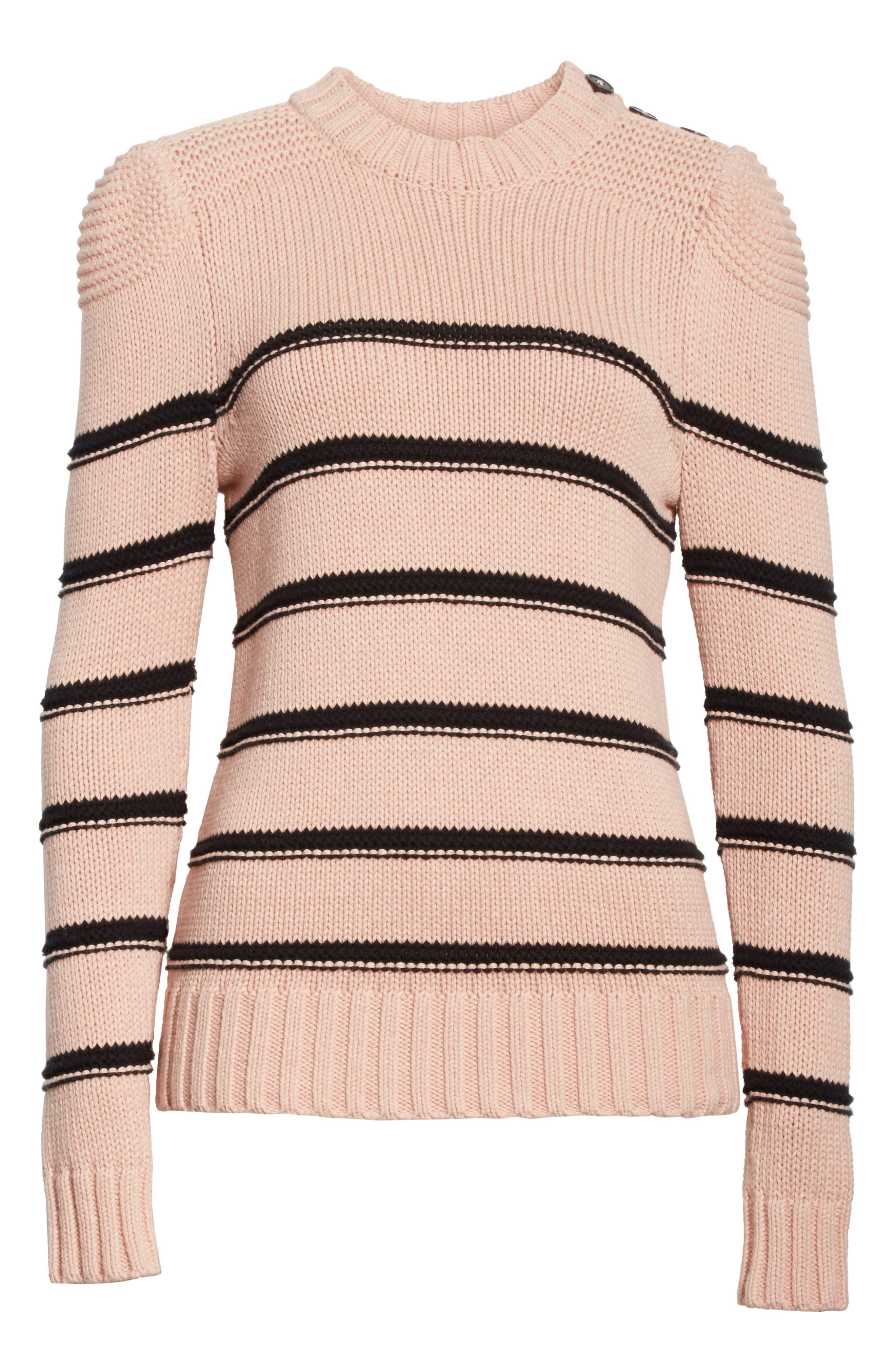Stripe Cotton & Merino Wool Sweater,                             Alternate thumbnail 6, color,                             695