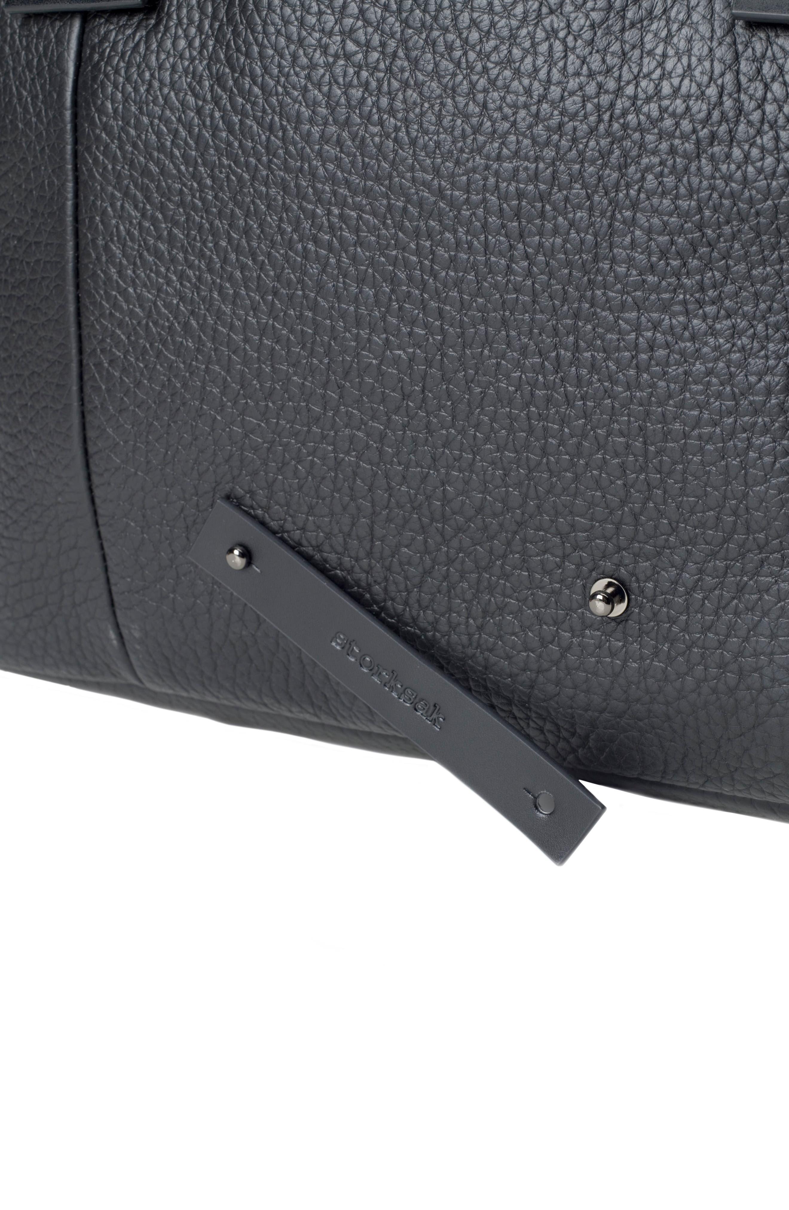 Kym Calfskin Leather Diaper Tote Bag,                             Alternate thumbnail 9, color,                             BLACK