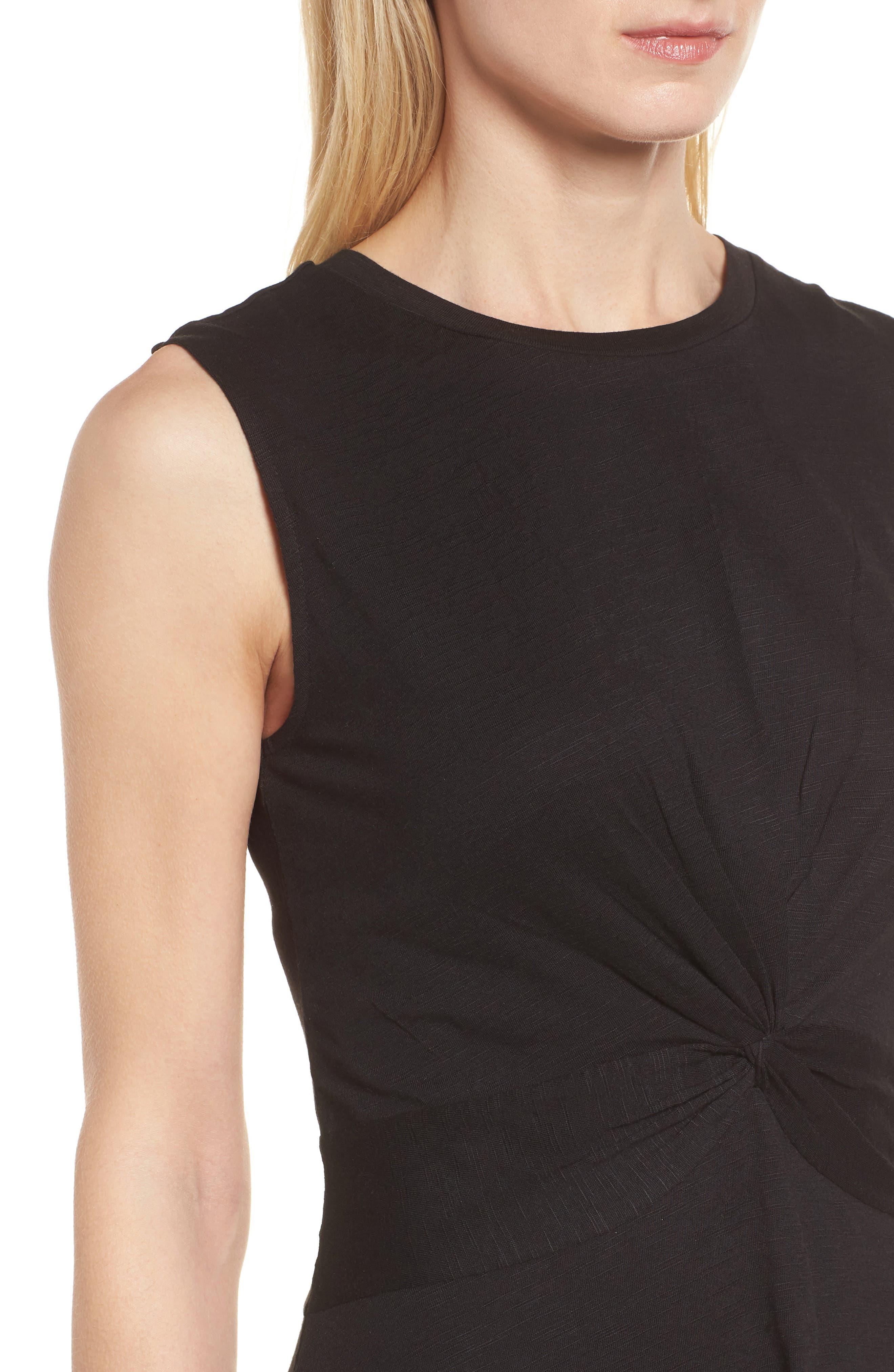Twist Front Knit Dress,                             Alternate thumbnail 4, color,                             001