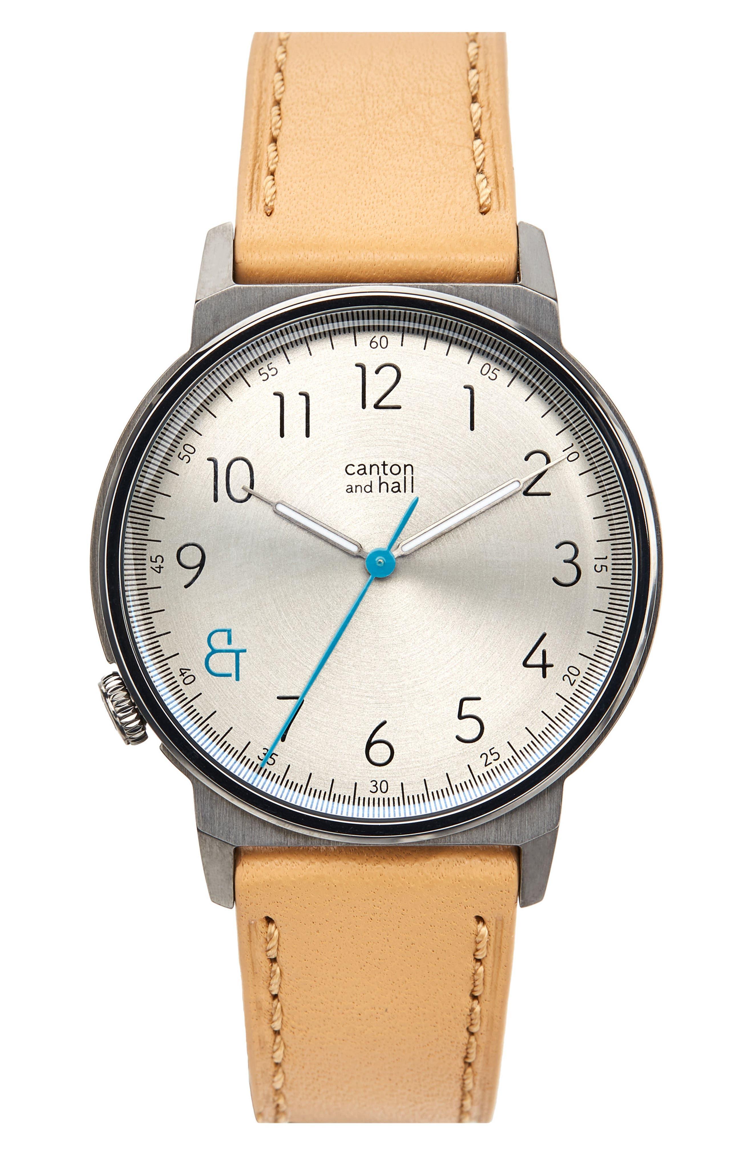 Davis Slim Leather Strap Watch, 40mm,                         Main,                         color, KHAKI/ CAMEL