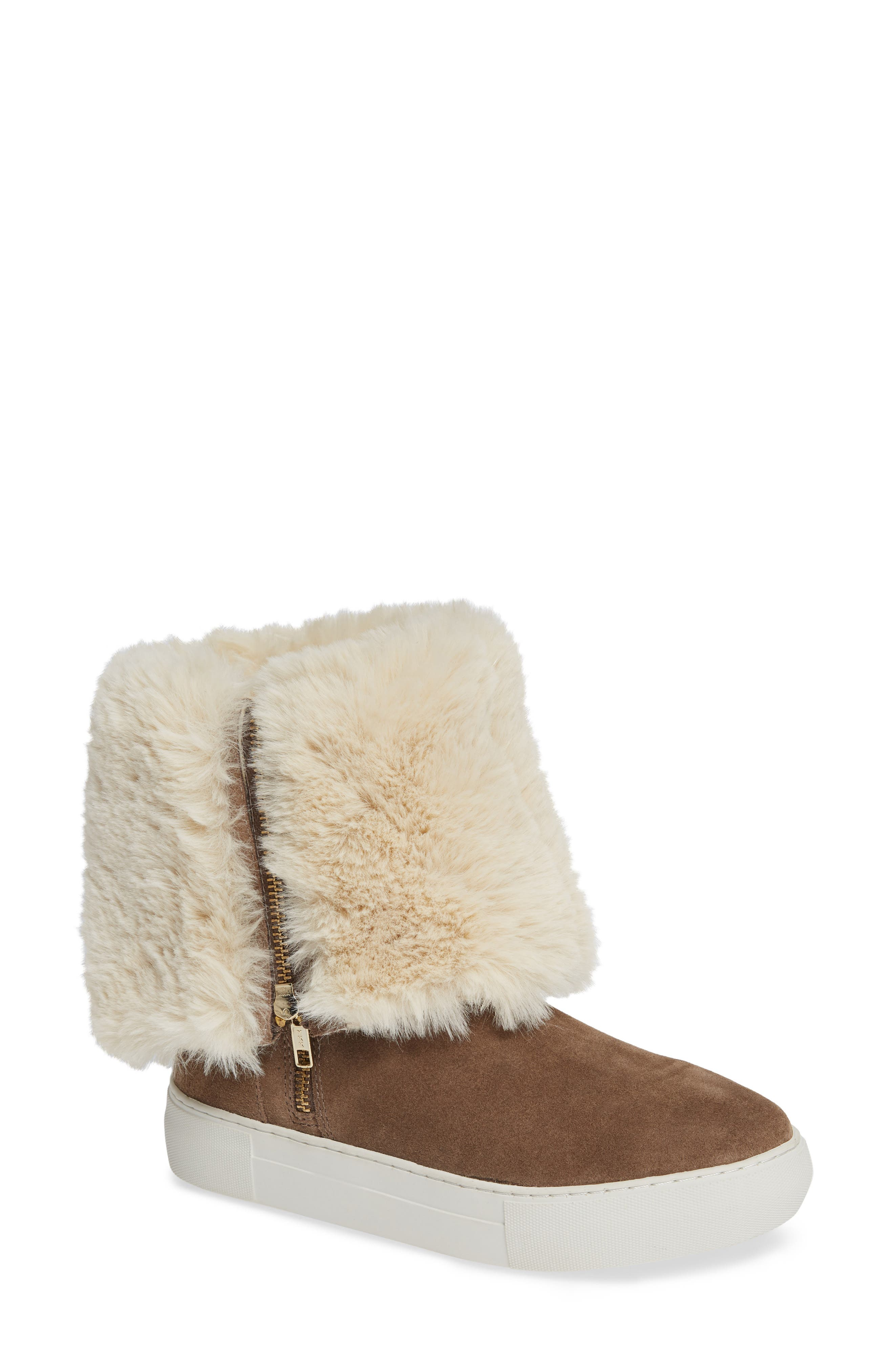 Jslides Apple Faux Shearling Boot, Brown