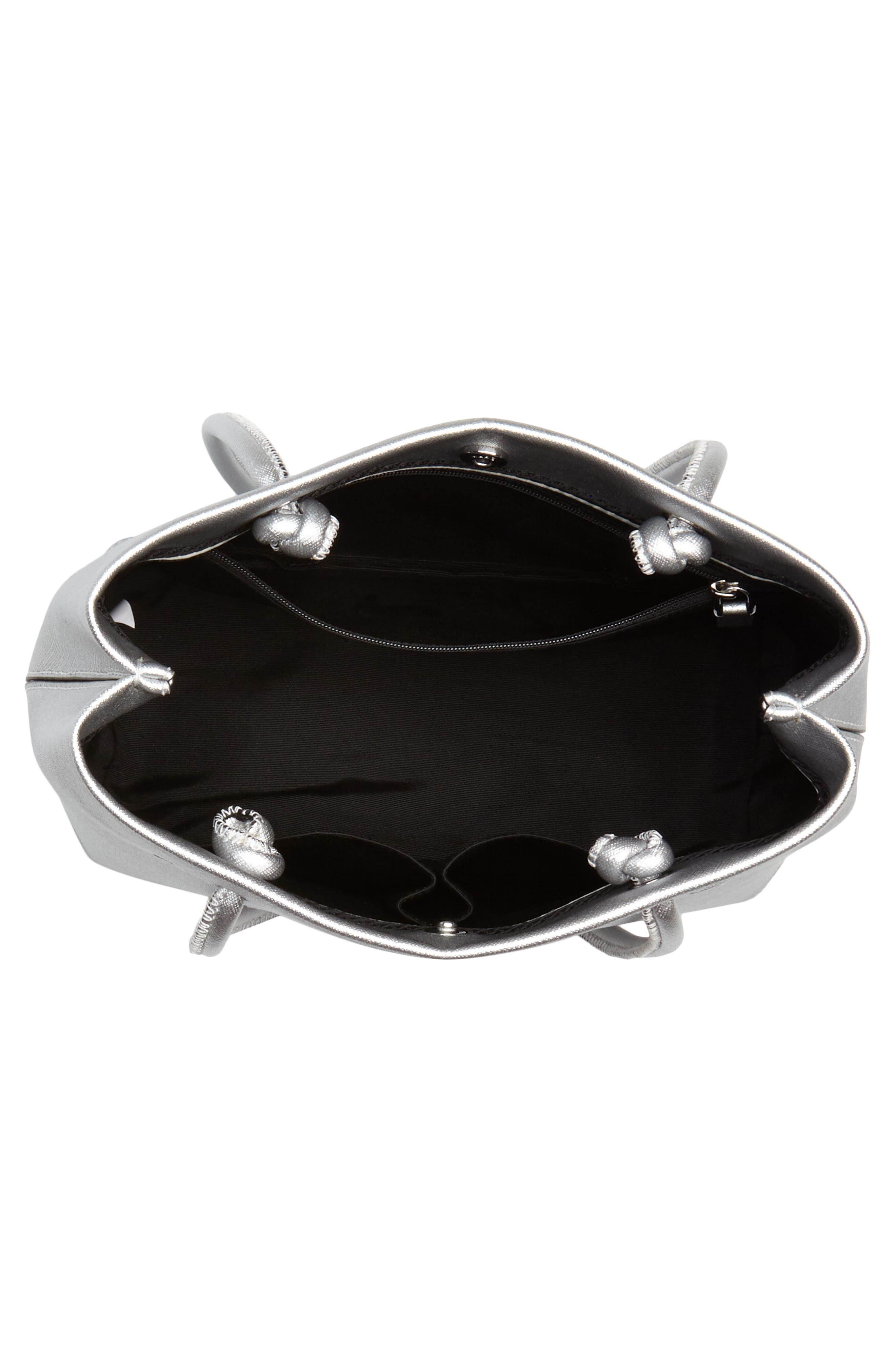 Mini Metallic Leather Logo Shopper Tote,                             Alternate thumbnail 4, color,                             040