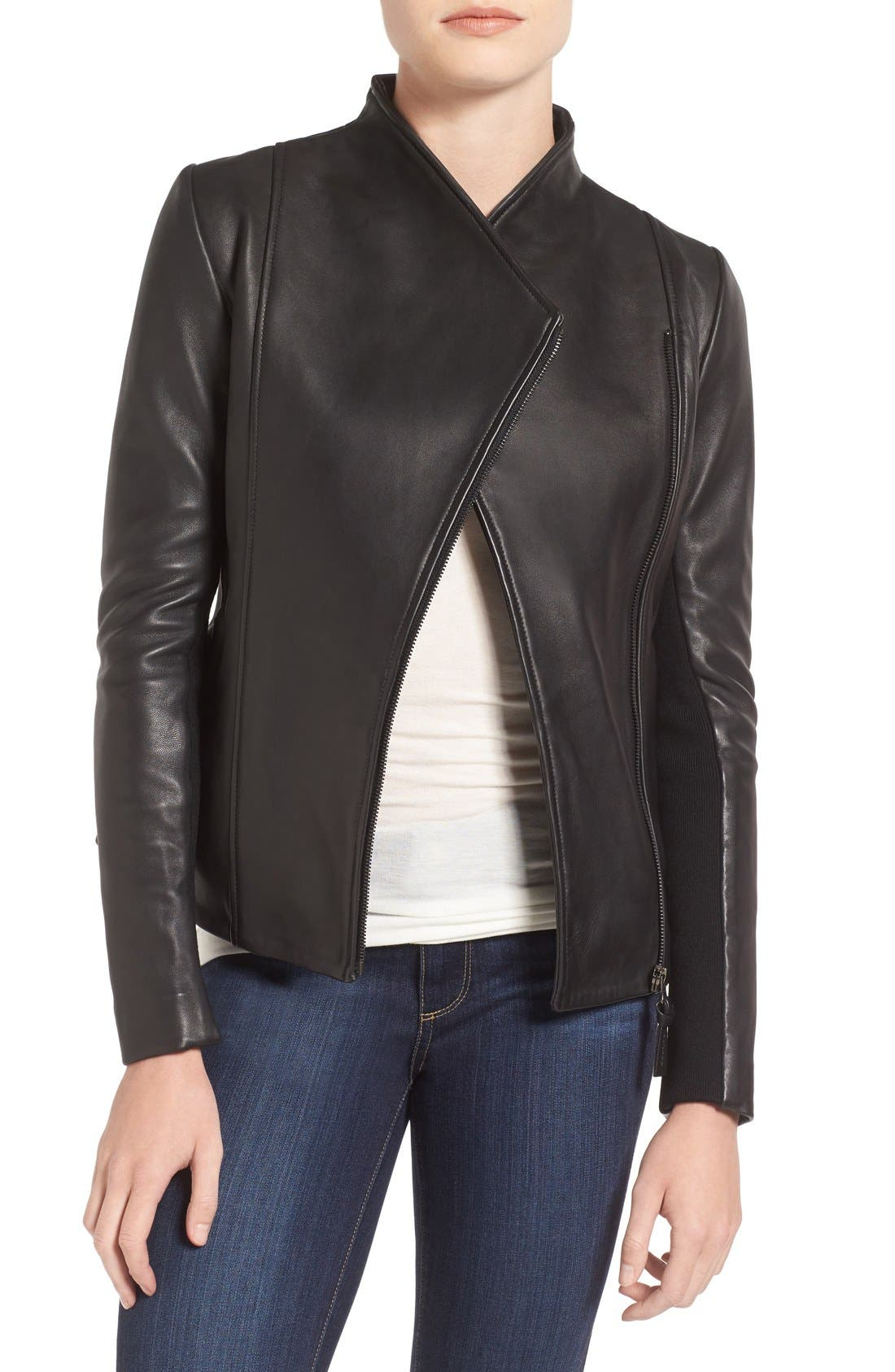 MACKAGE Leather Jacket, Main, color, 001