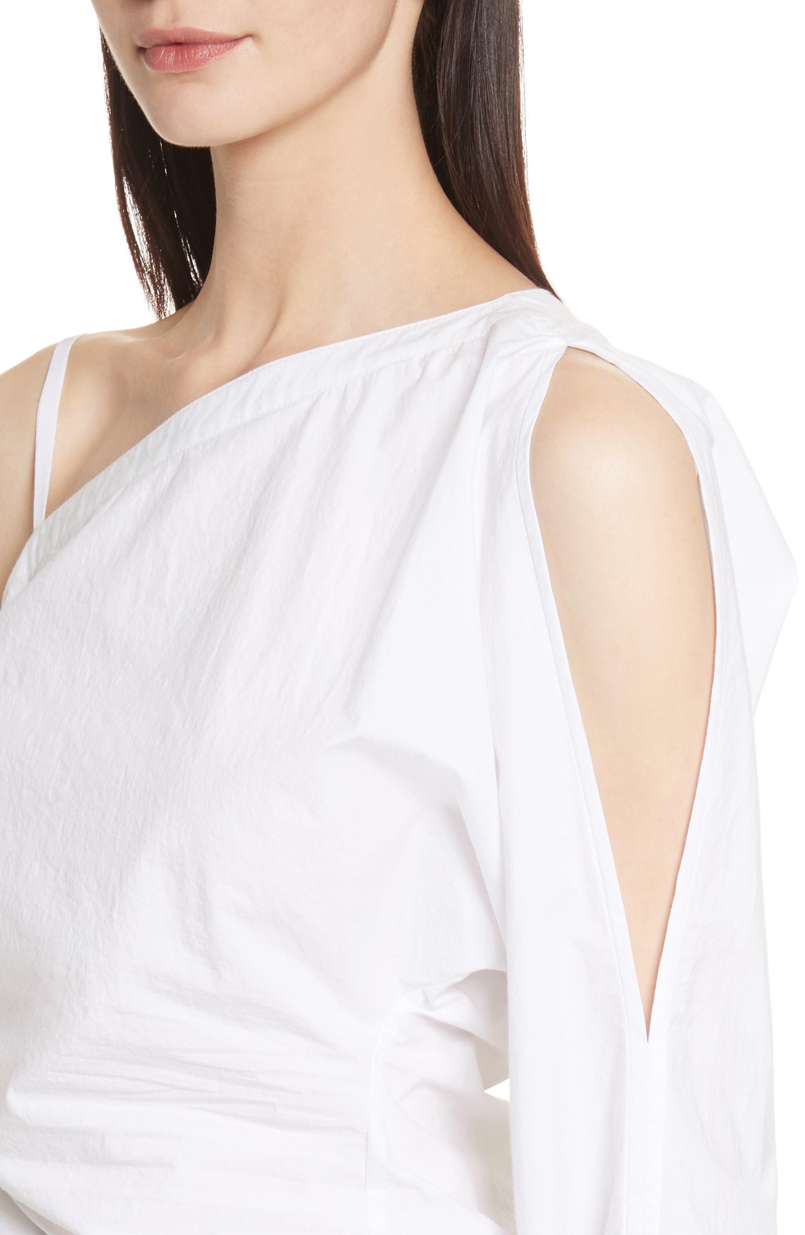 Cotton Poplin One-Shoulder Top,                             Alternate thumbnail 4, color,                             100