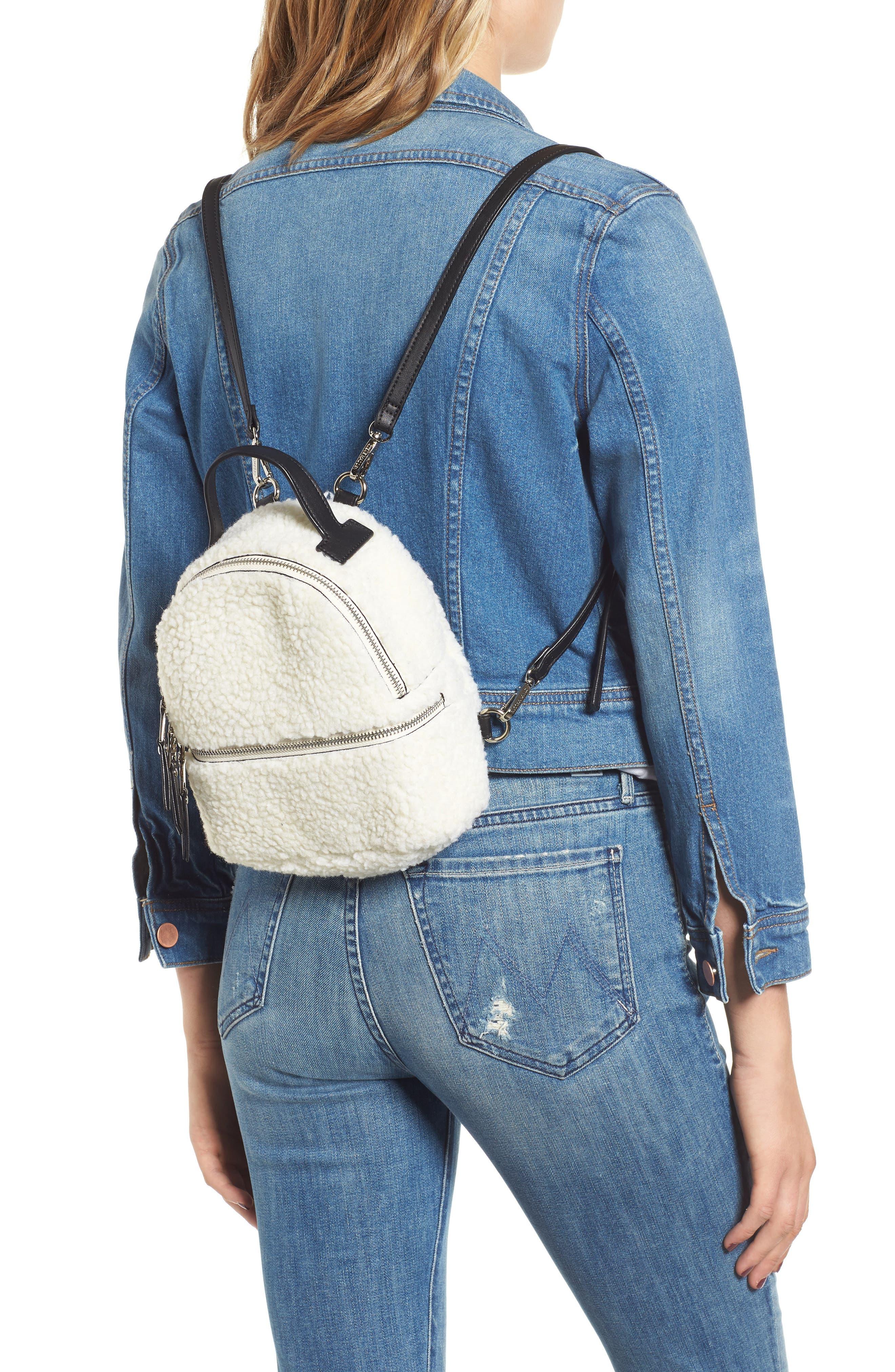 Mini Faux Fur Convertible Backpack,                             Alternate thumbnail 2, color,                             NATURAL