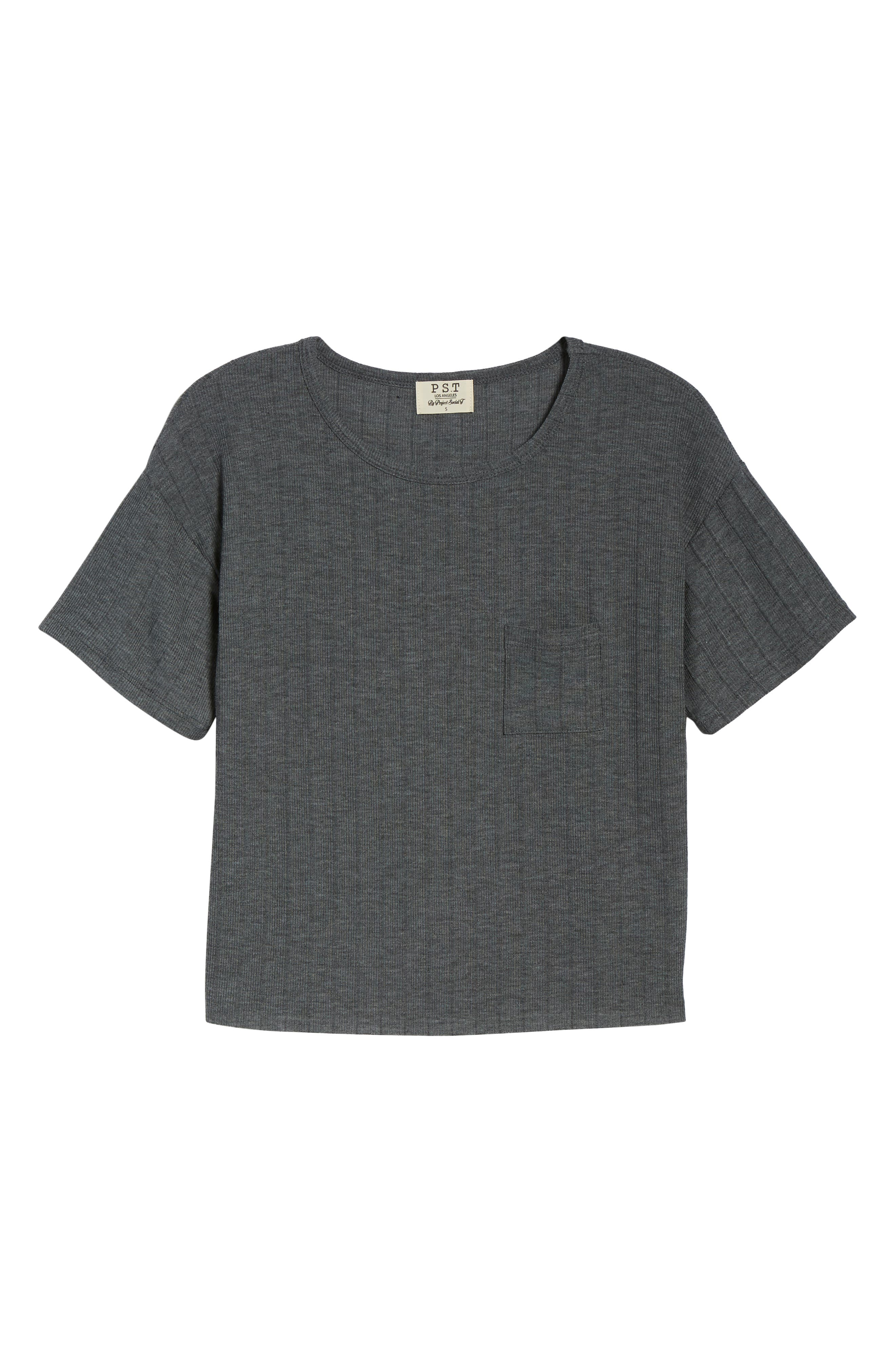 Variegated Rib Knit Tee,                             Alternate thumbnail 6, color,                             CHARCOAL