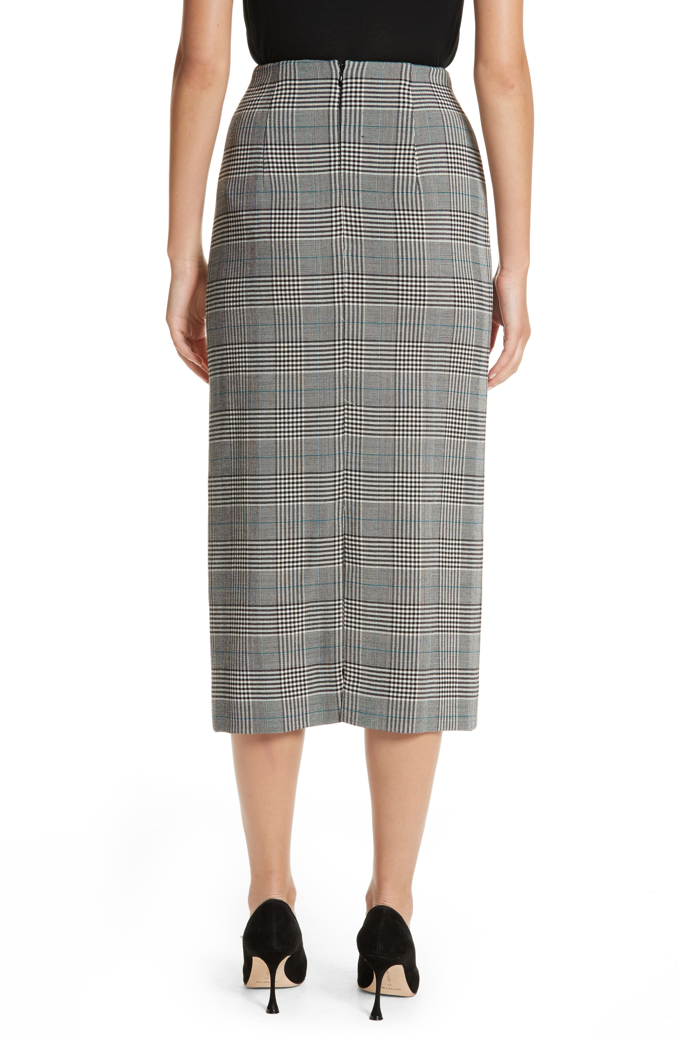 Prince of Wales High Waist Pencil Skirt,                             Alternate thumbnail 2, color,                             001