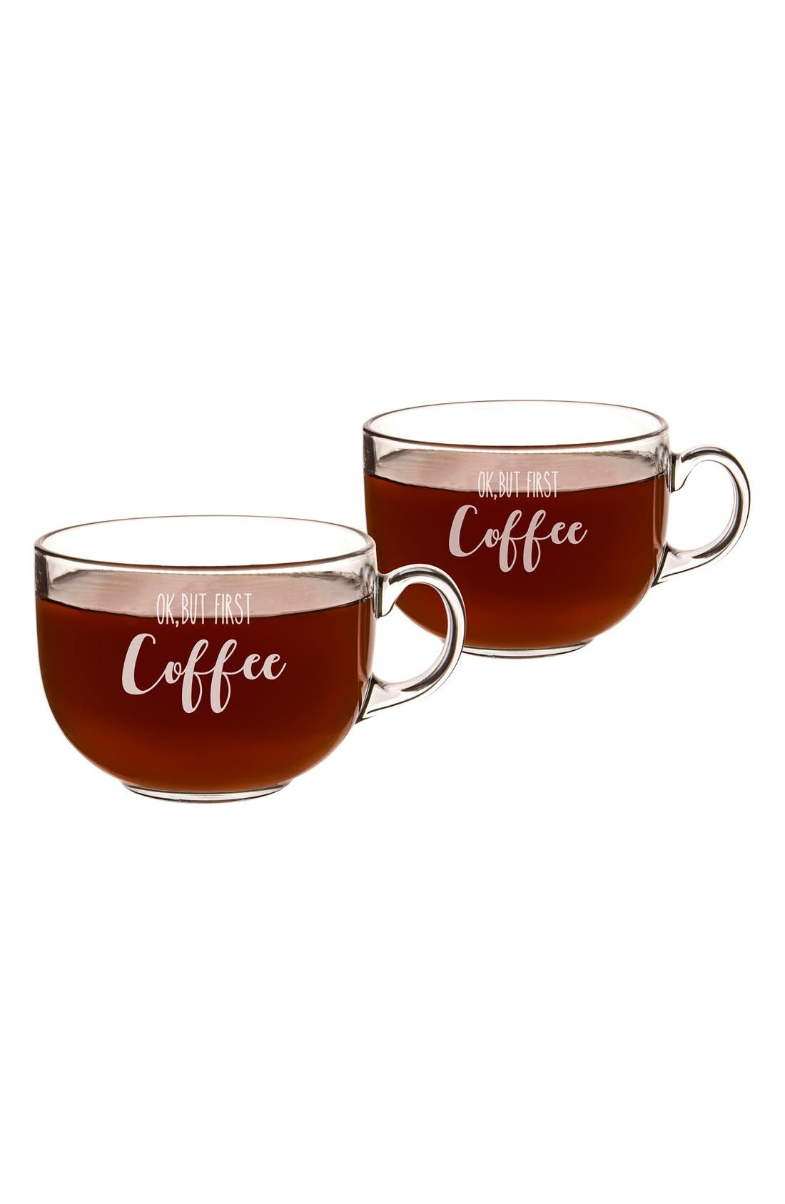 But First Coffee Set of 2 Glass Mugs,                             Alternate thumbnail 4, color,                             100