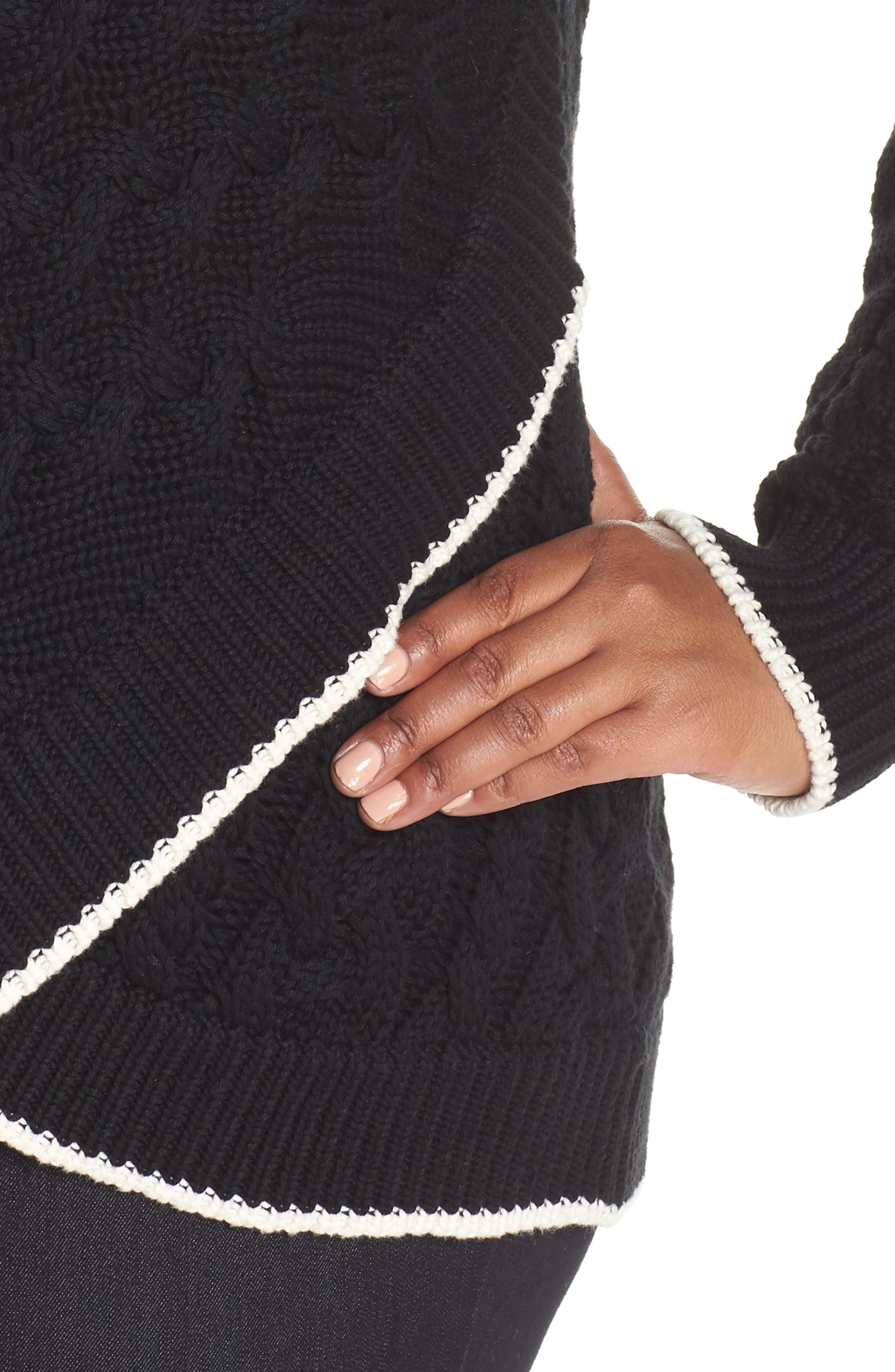 Contrast Trim Cable Sweater,                             Alternate thumbnail 4, color,                             RICH BLACK
