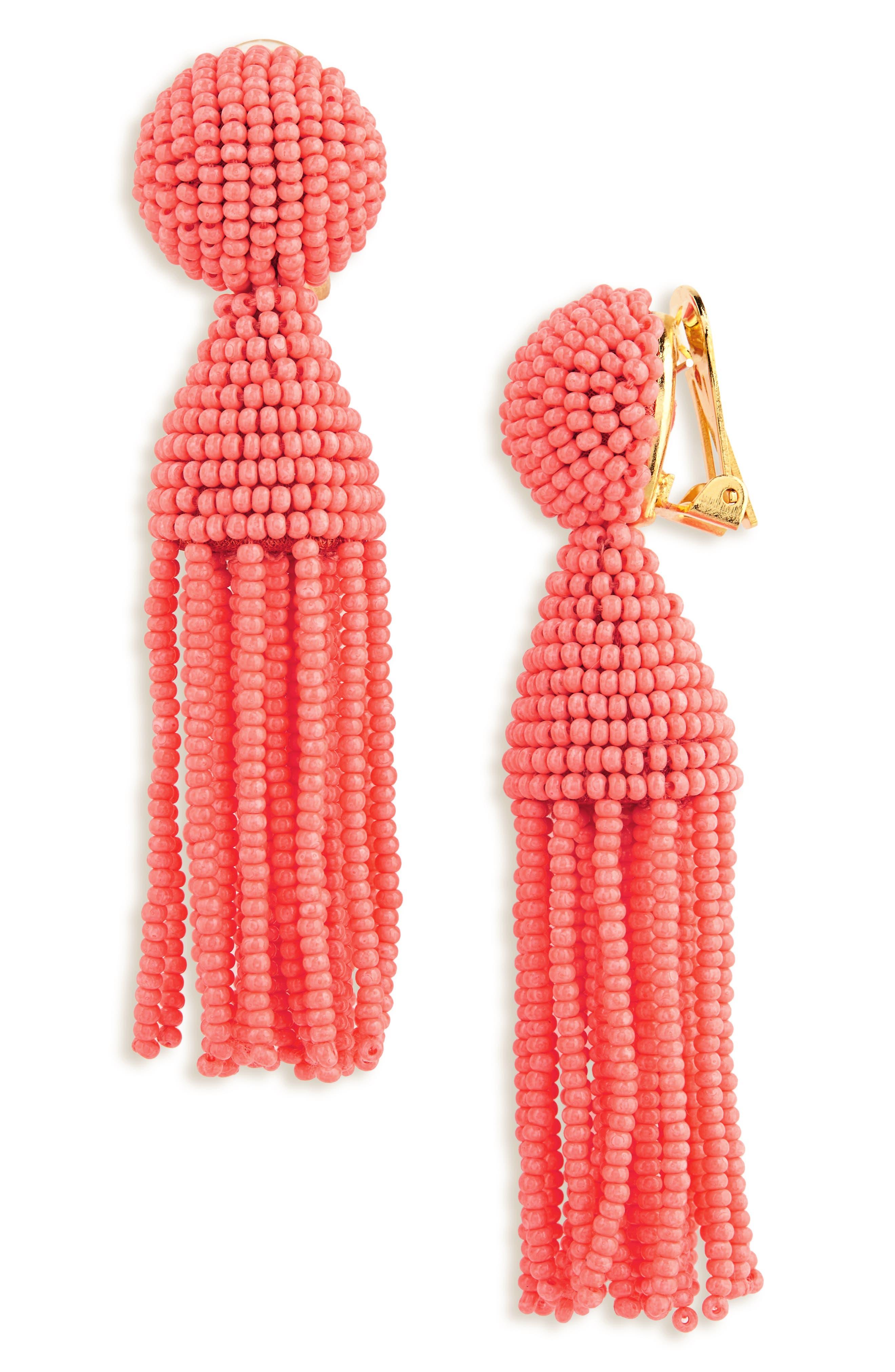 'Classic Short' Tassel Drop Clip Earrings,                             Main thumbnail 28, color,