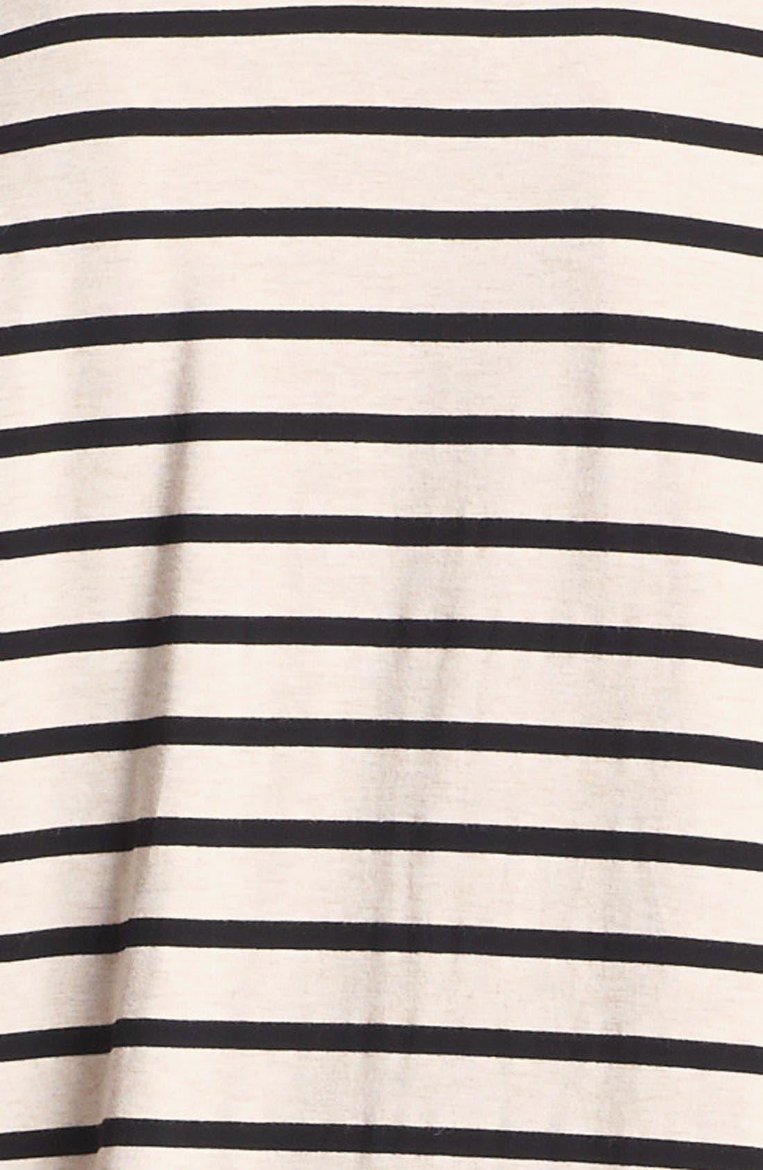 Faux Leather Sleeve Stripe Tee,                             Alternate thumbnail 5, color,                             250