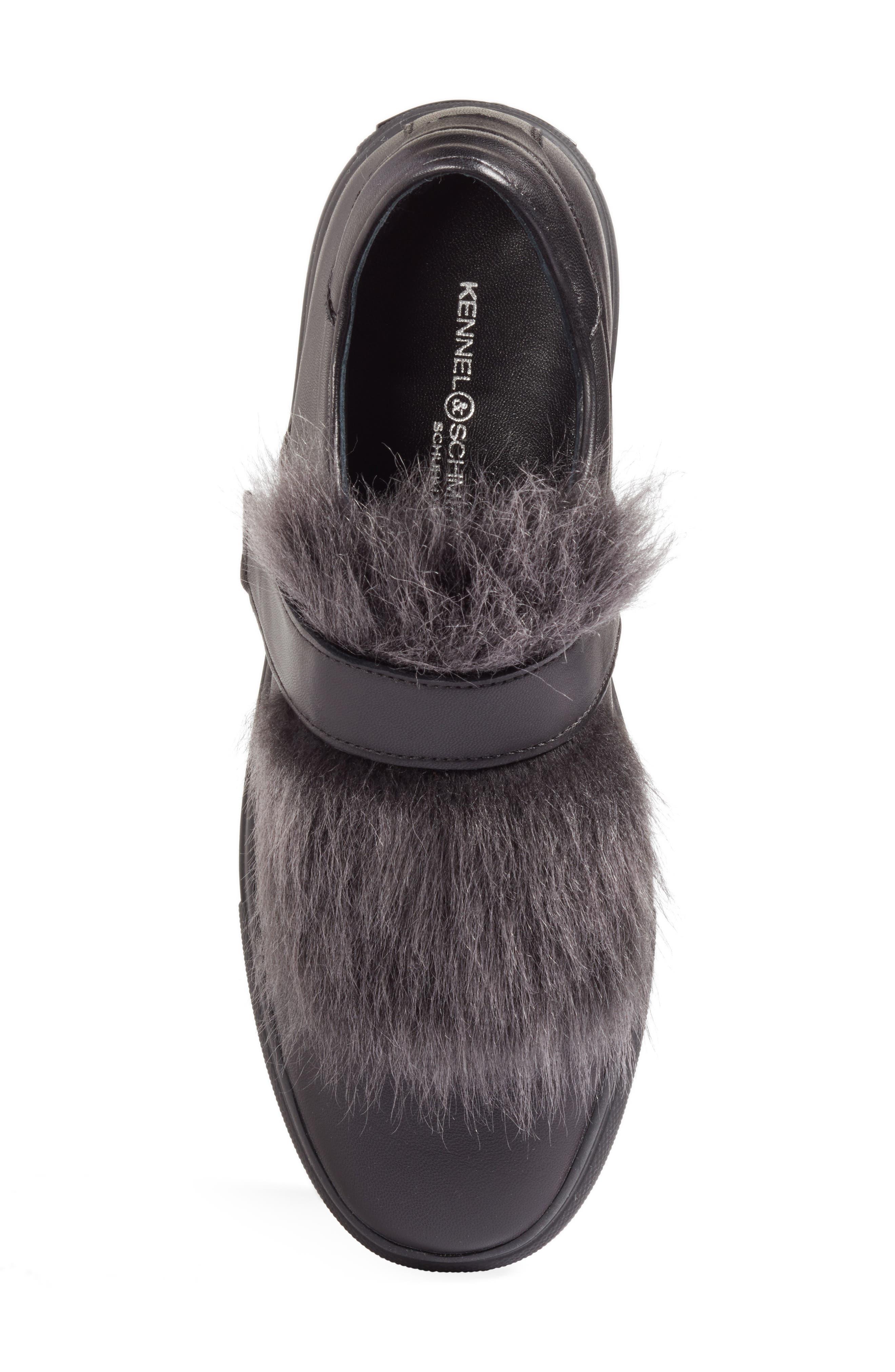 Kennel & Schmenger Basket Slip-On Sneaker with Genuine Shearling Trim,                             Alternate thumbnail 5, color,                             001