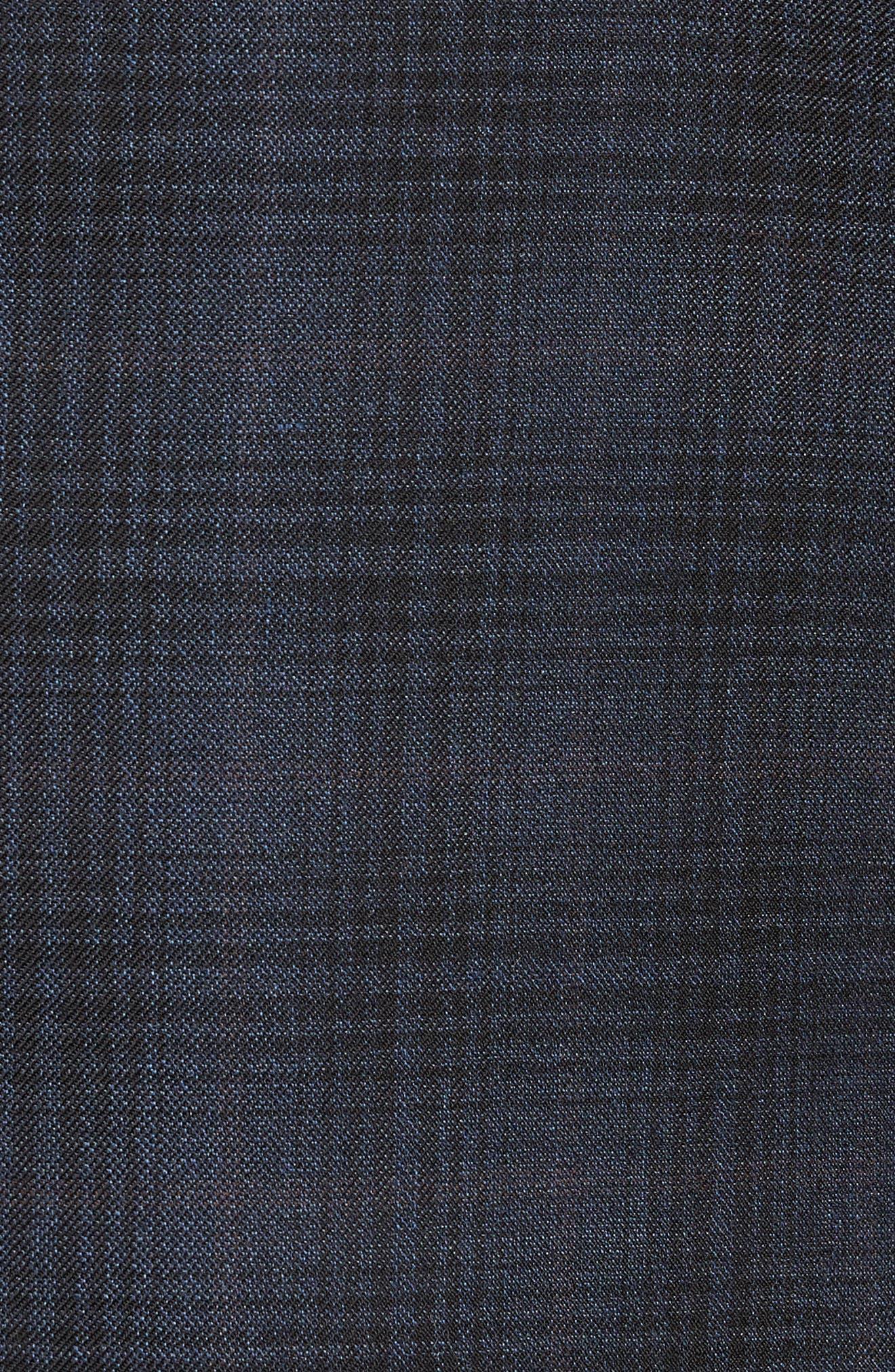 Trim Fit Shadow Plaid Sport Coat,                             Alternate thumbnail 6, color,                             NAVY