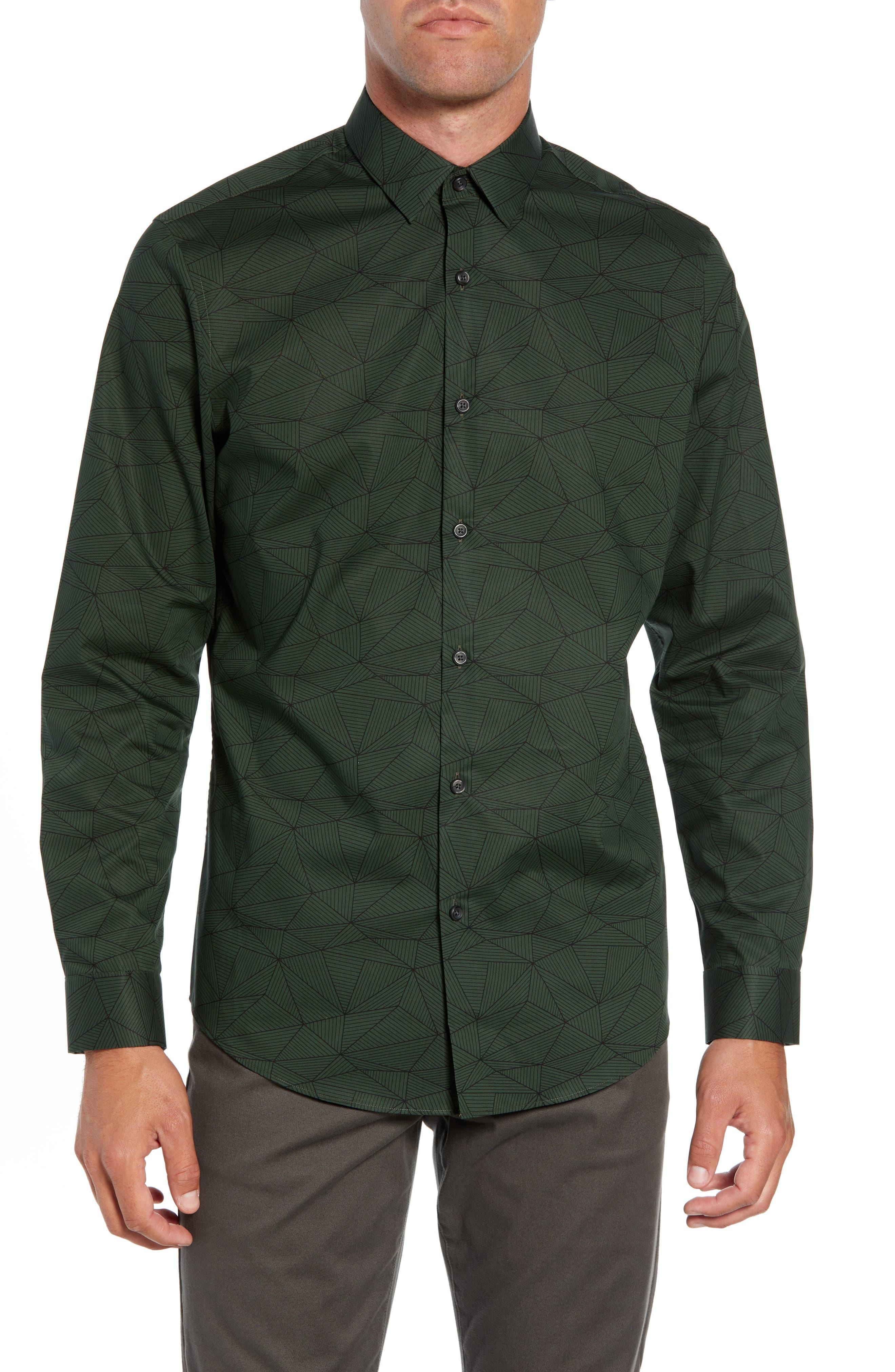 Calibrate Non-Iron Geo Print Sport Shirt, Green