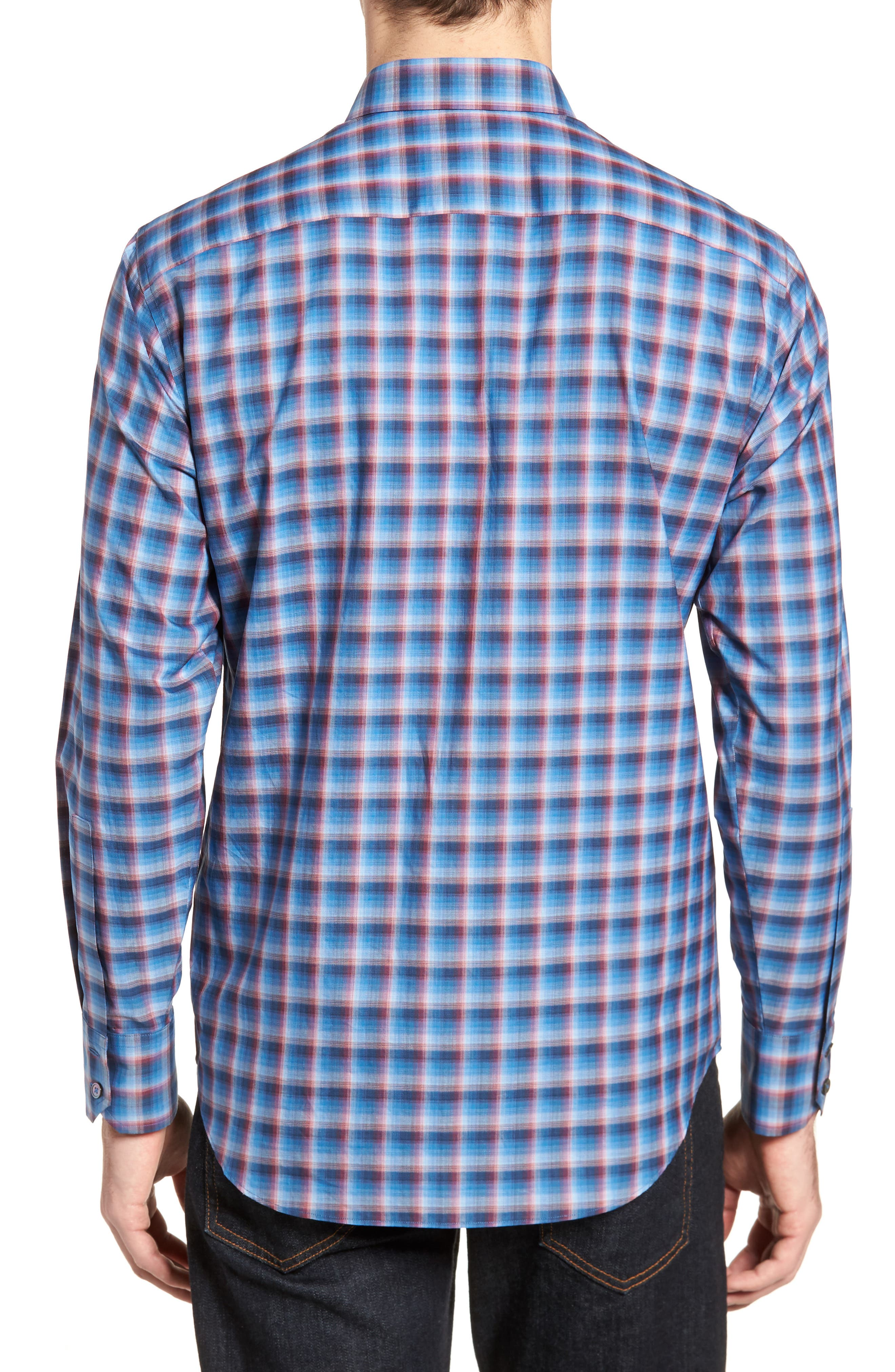 Pinker Plaid Sport Shirt,                             Alternate thumbnail 2, color,                             401