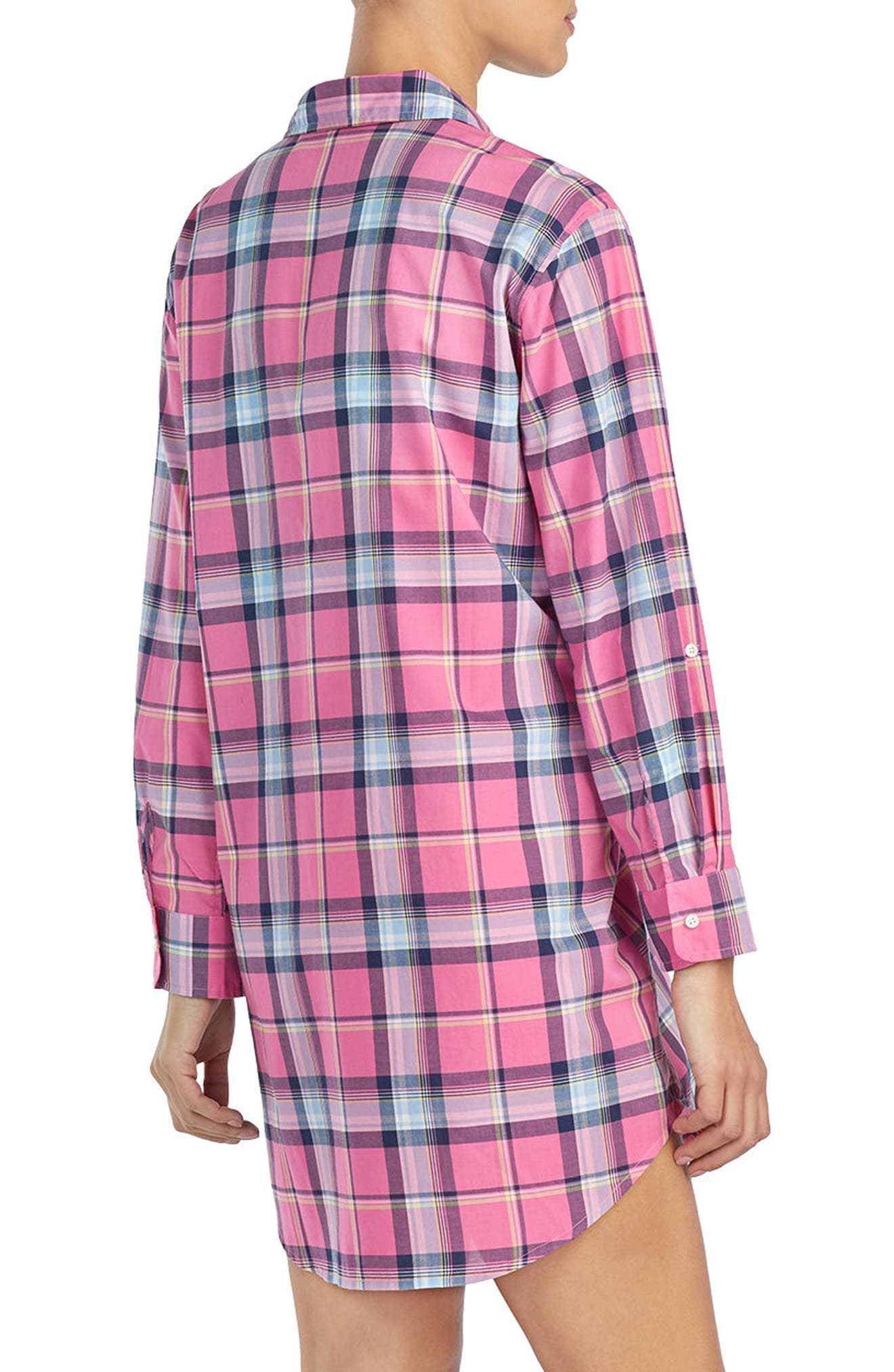Plaid Sleep Shirt,                             Alternate thumbnail 2, color,                             RED PLAID