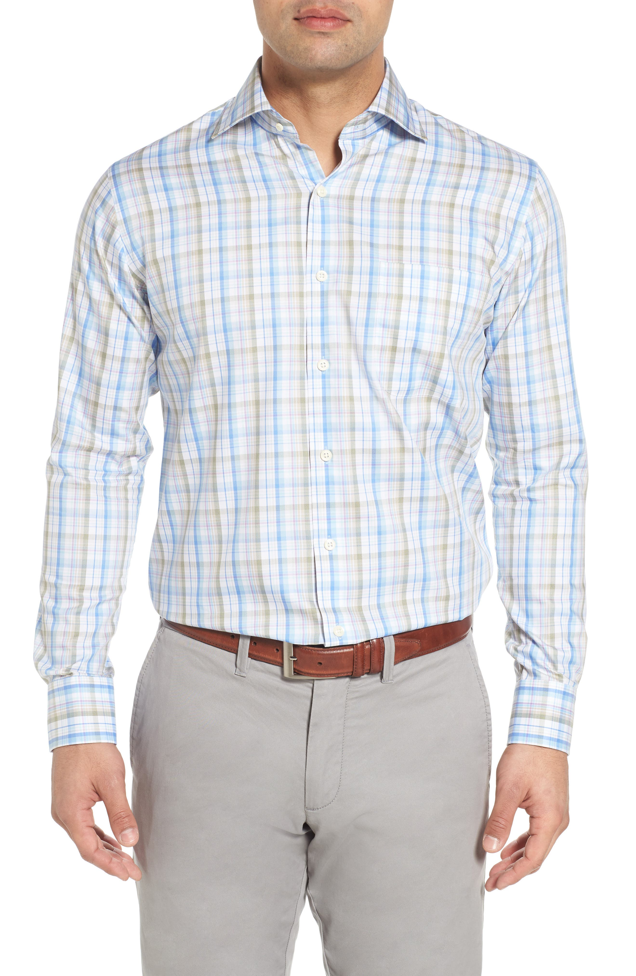 Crown Waterway Plaid Sport Shirt,                         Main,                         color, 418