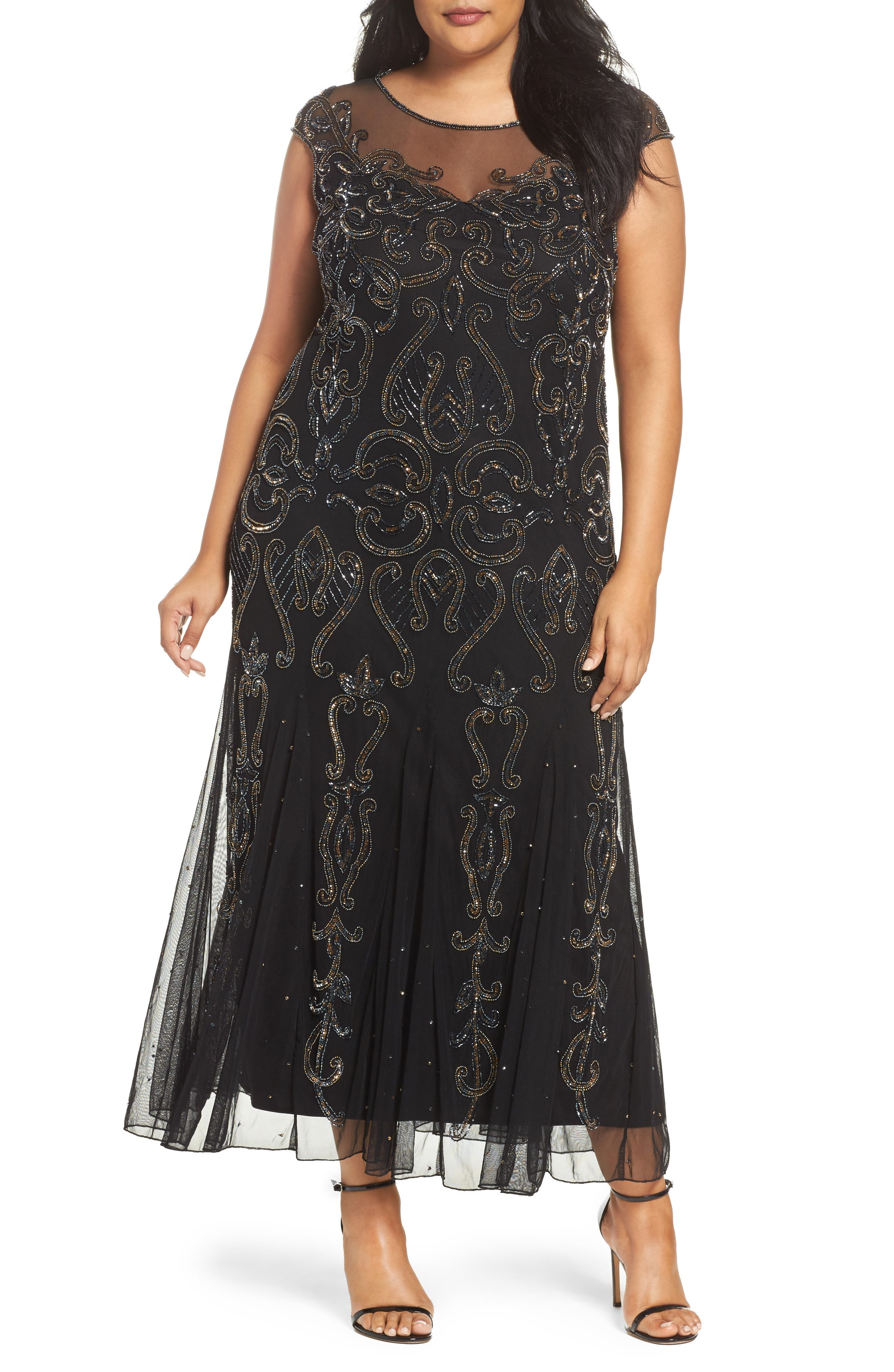 Illusion Neck Beaded A-Line Gown,                             Main thumbnail 1, color,                             001