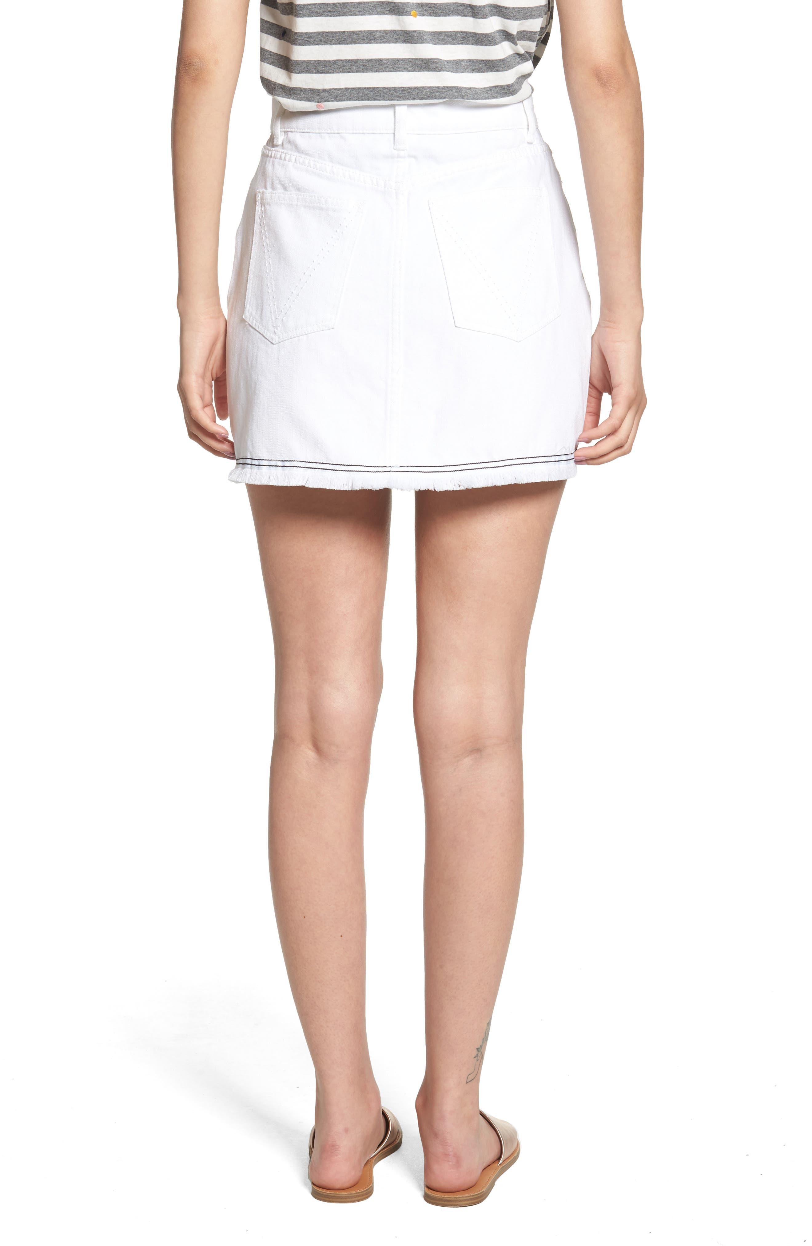 THE FIFTH LABEL,                             Social Fray Hem Denim Miniskirt,                             Alternate thumbnail 2, color,                             100