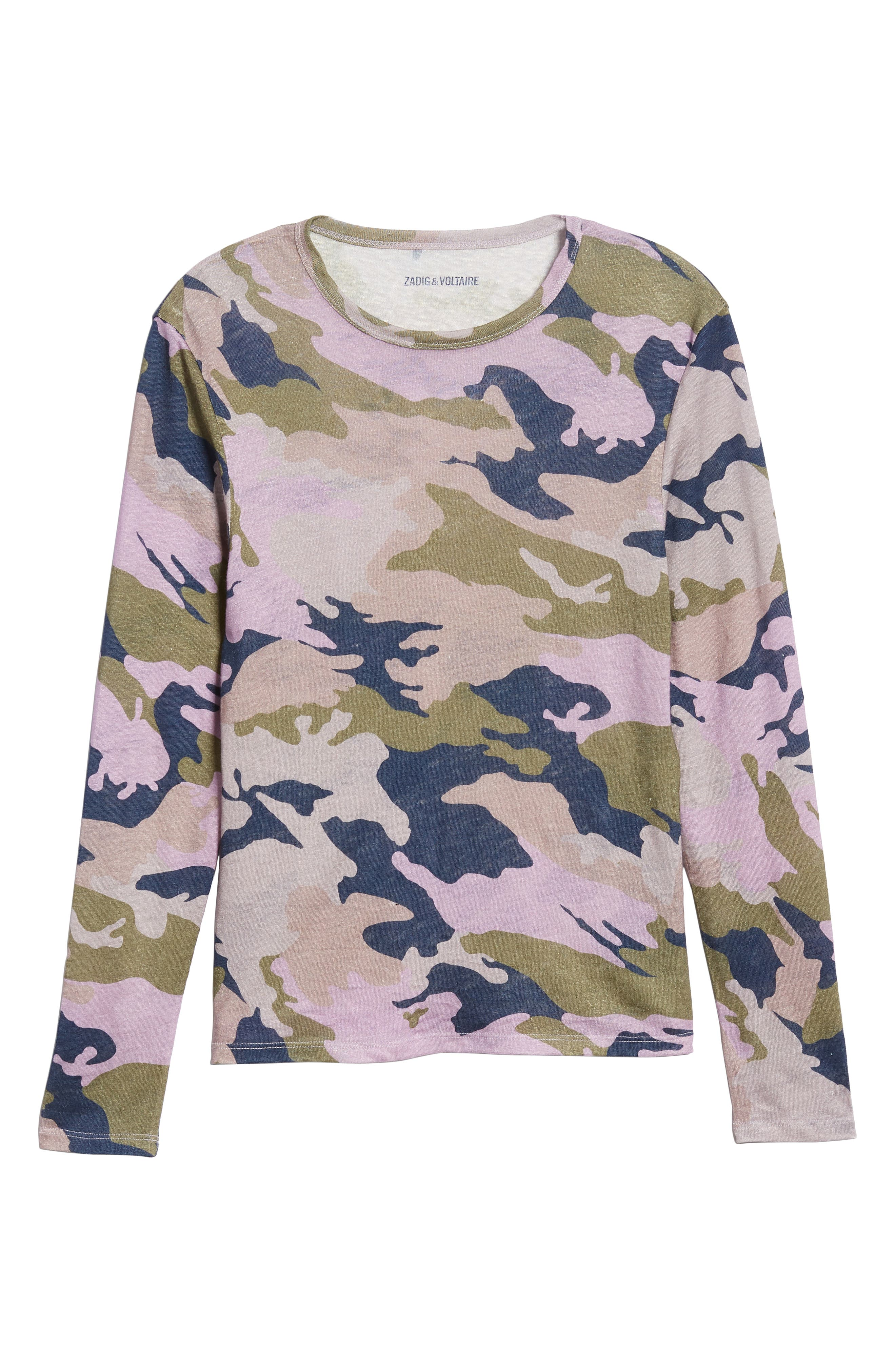 ZADIG & VOLTAIRE,                             Willy Camo Linen Top,                             Alternate thumbnail 6, color,                             300