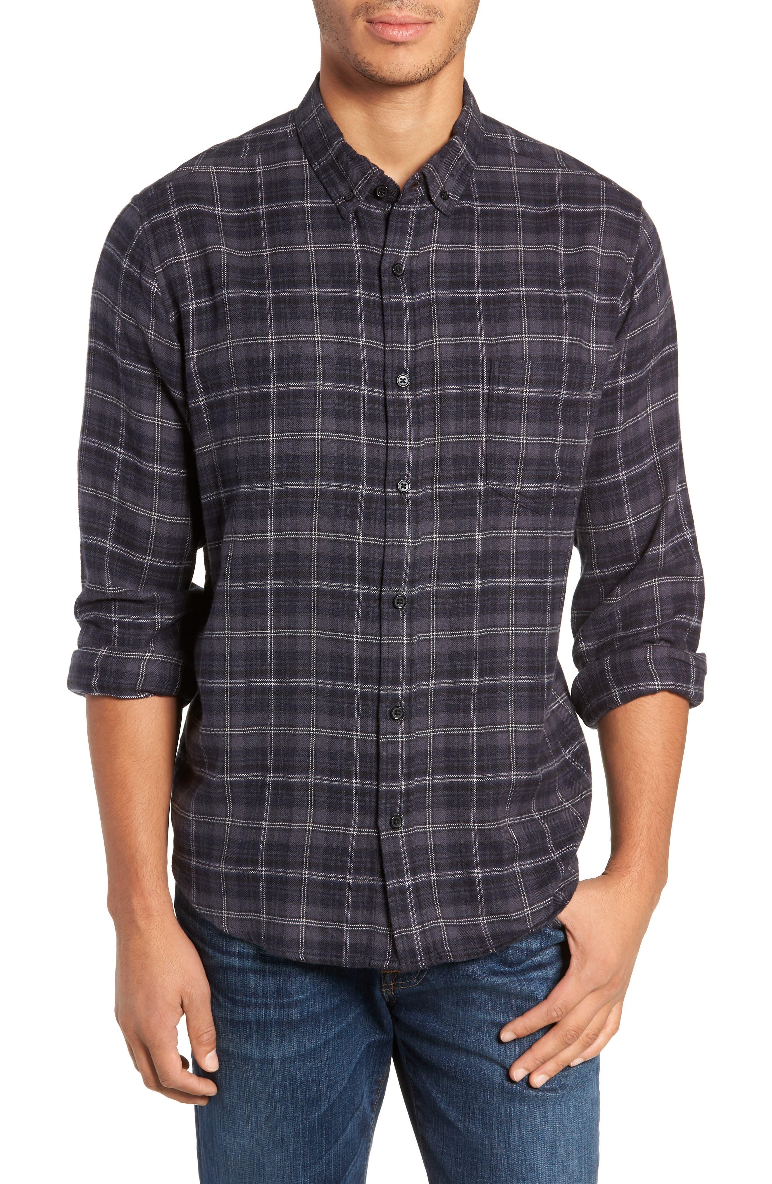 Lennox Slim Fit Plaid Sport Shirt,                         Main,                         color, BLUE SMOKE/NAVY/BLACK