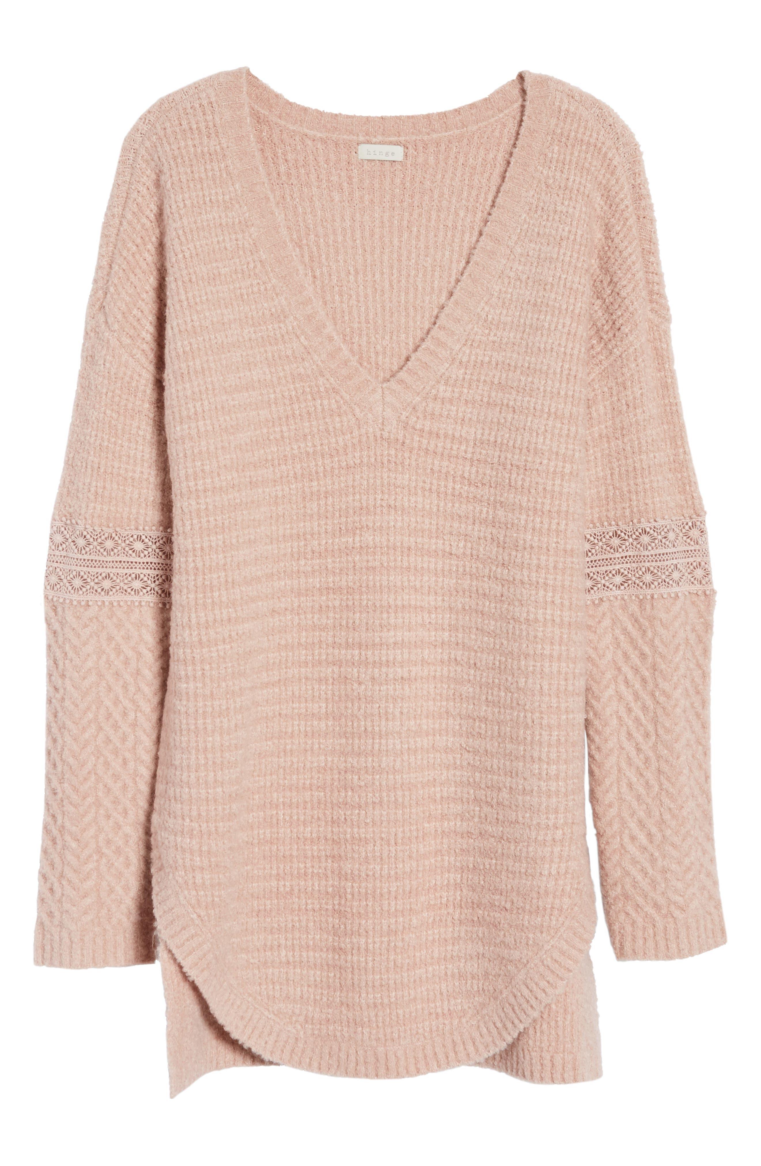 Lace Inset V-Neck Sweater,                             Alternate thumbnail 6, color,                             650